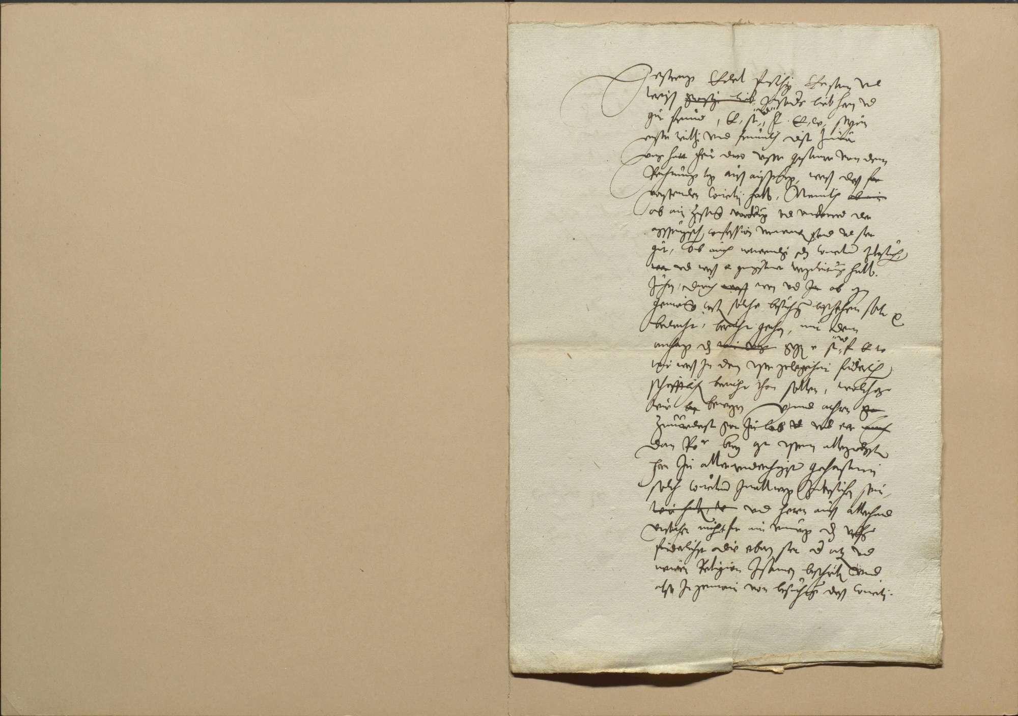 Konzil von Trient, die wegen Beschickung desselben mit Straßburg geführte Korrespondenz und das kaiserliche Ausschreiben dazu sowie Bedenken des Menrad Molther über die Frage, ob es beschickt werden solle und ein Schreiben eines bischöflichen Gesandten an seinen Herrn, von dem was auf dem Konzil vorgegangen ist, 1. Mai 1551, Bild 2