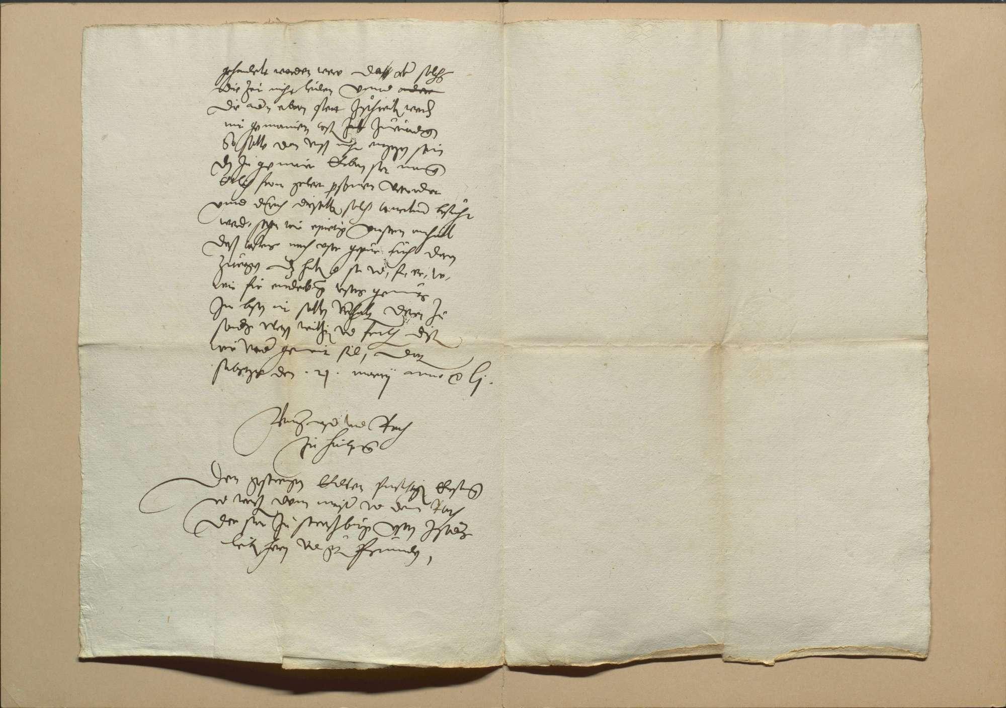 Konzil von Trient, die wegen Beschickung desselben mit Straßburg geführte Korrespondenz und das kaiserliche Ausschreiben dazu sowie Bedenken des Menrad Molther über die Frage, ob es beschickt werden solle und ein Schreiben eines bischöflichen Gesandten an seinen Herrn, von dem was auf dem Konzil vorgegangen ist, 1. Mai 1551, Bild 3