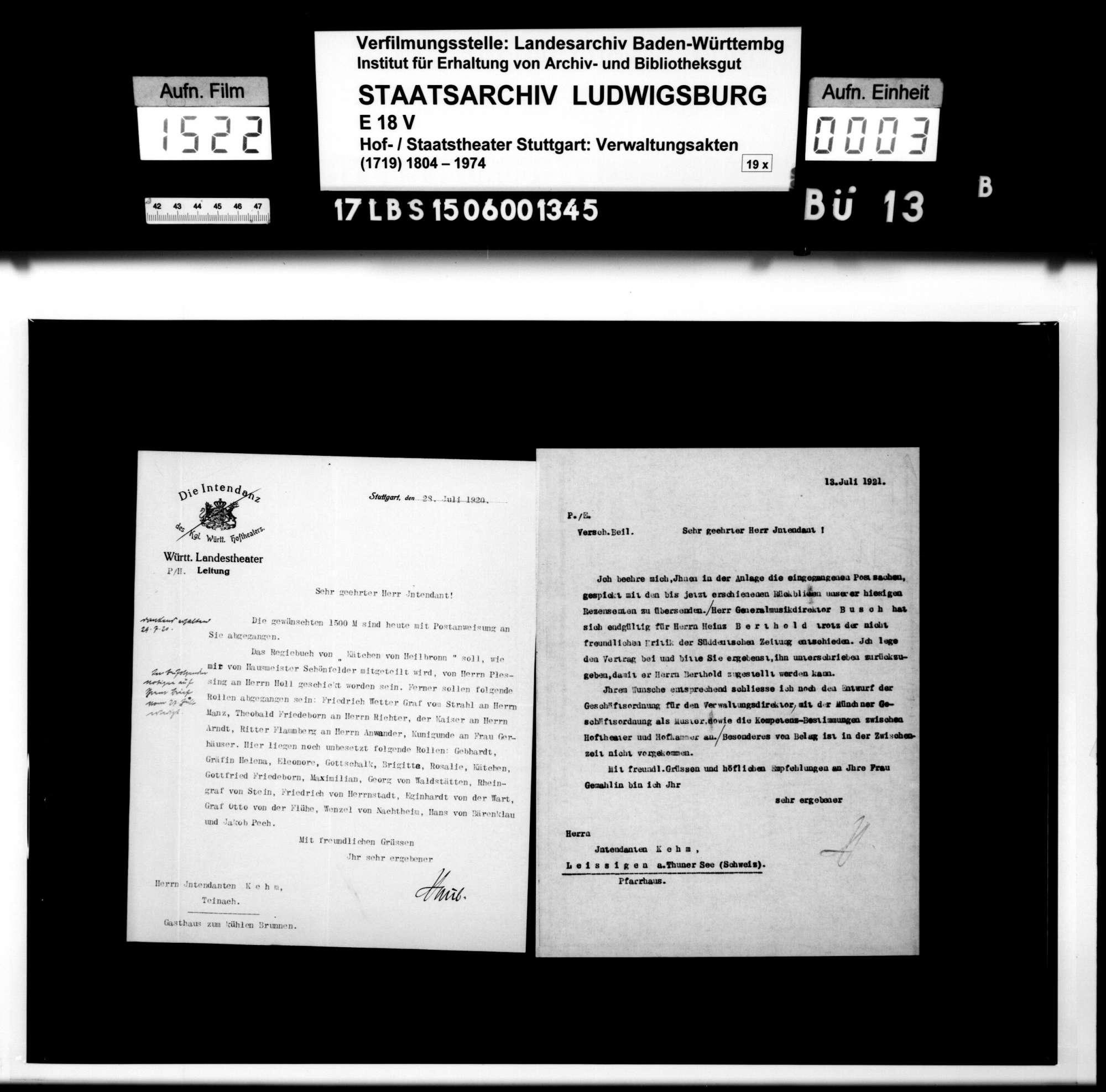 Schriftwechsel mit dem ehemaligen Intendanten des Württembergischen Hoftheaters Albert Kehm, Bild 1