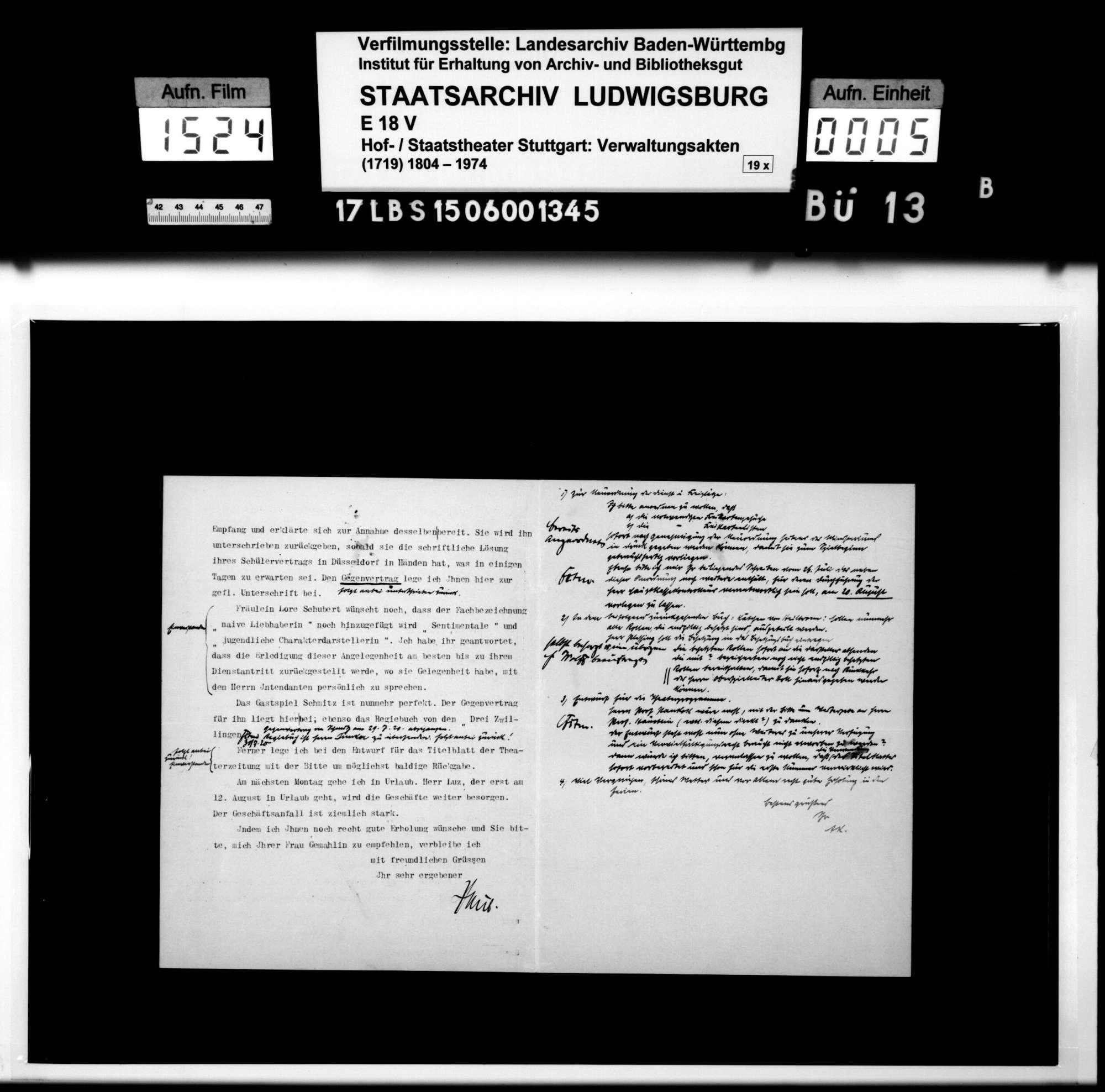 Schriftwechsel mit dem ehemaligen Intendanten des Württembergischen Hoftheaters Albert Kehm, Bild 3
