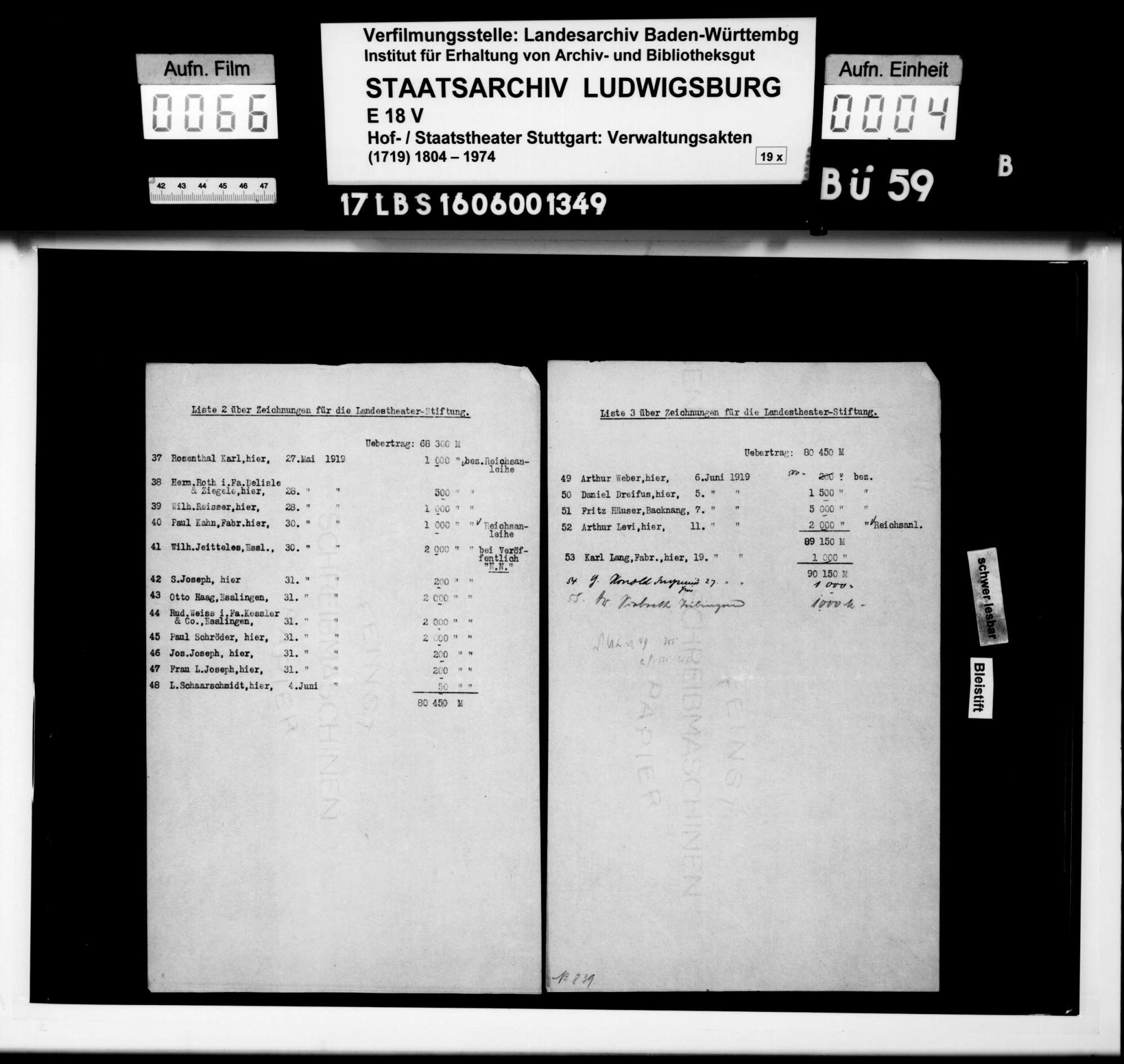 Überweisungen (Zeichnungen) von Geldbeträgen für den Grundstock der Landestheaterstiftung, Bild 2