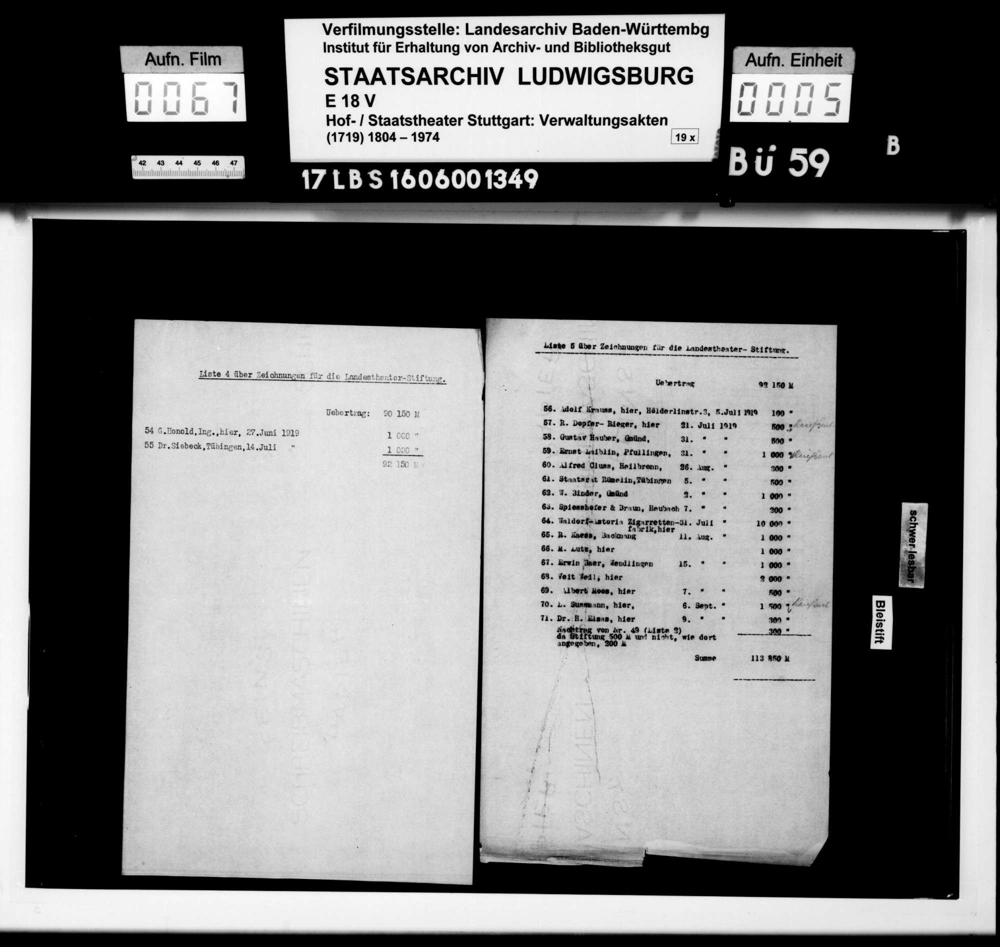 Überweisungen (Zeichnungen) von Geldbeträgen für den Grundstock der Landestheaterstiftung, Bild 3