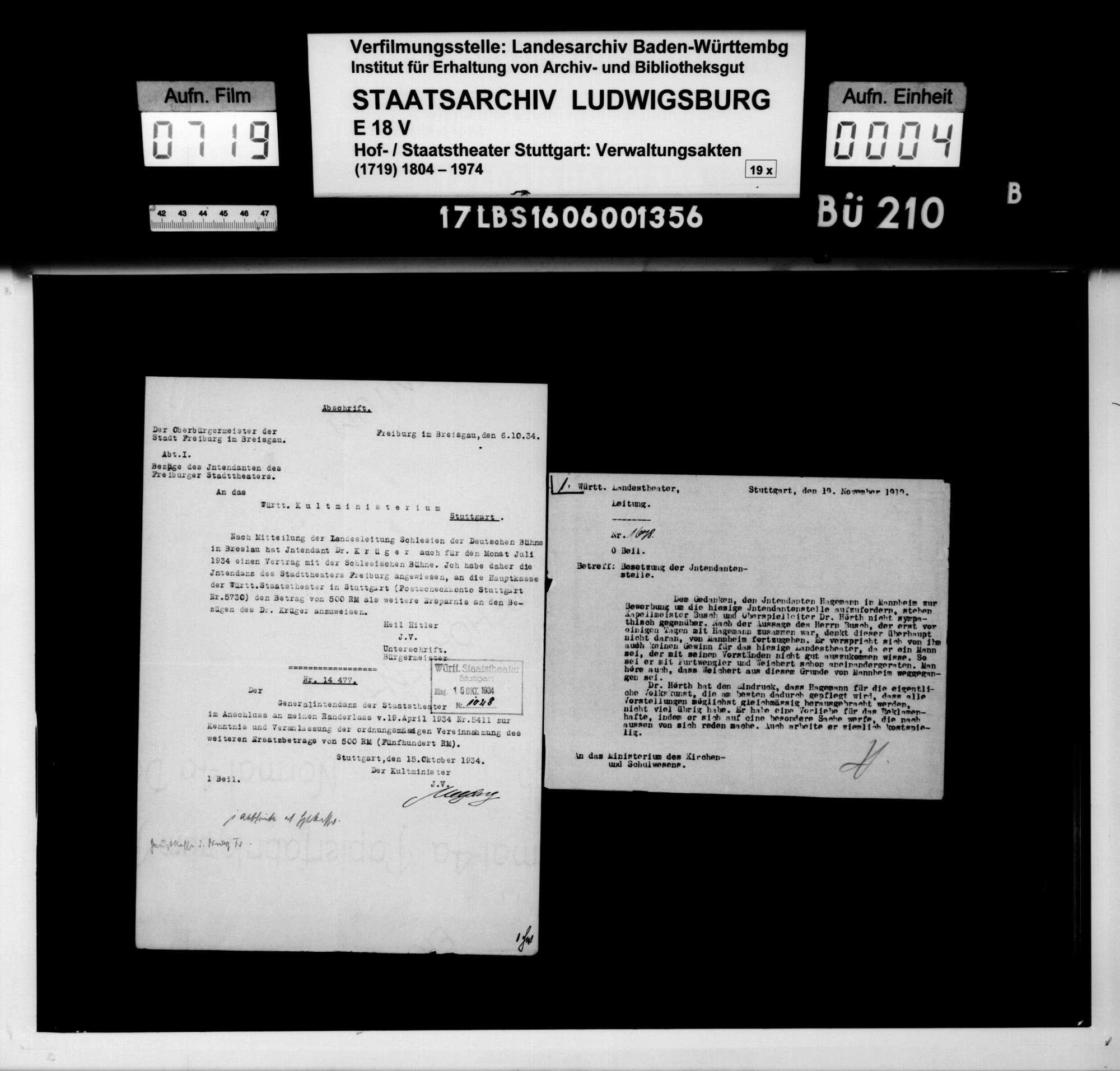 Beschäftigung von Albert Kehm als Generalintendant, Bild 2