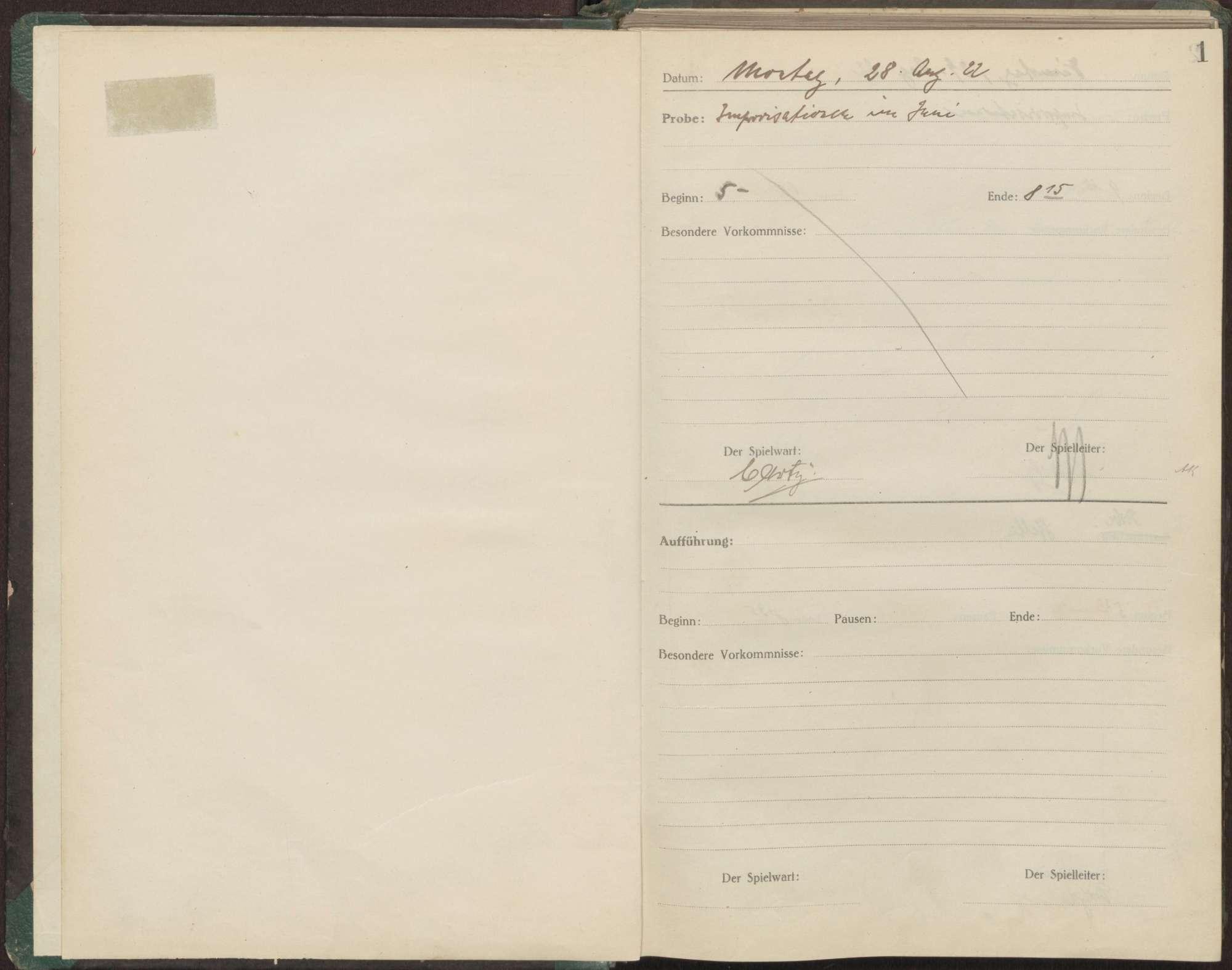 Proben- und Aufführungsbuch 1922/1923, Bild 3