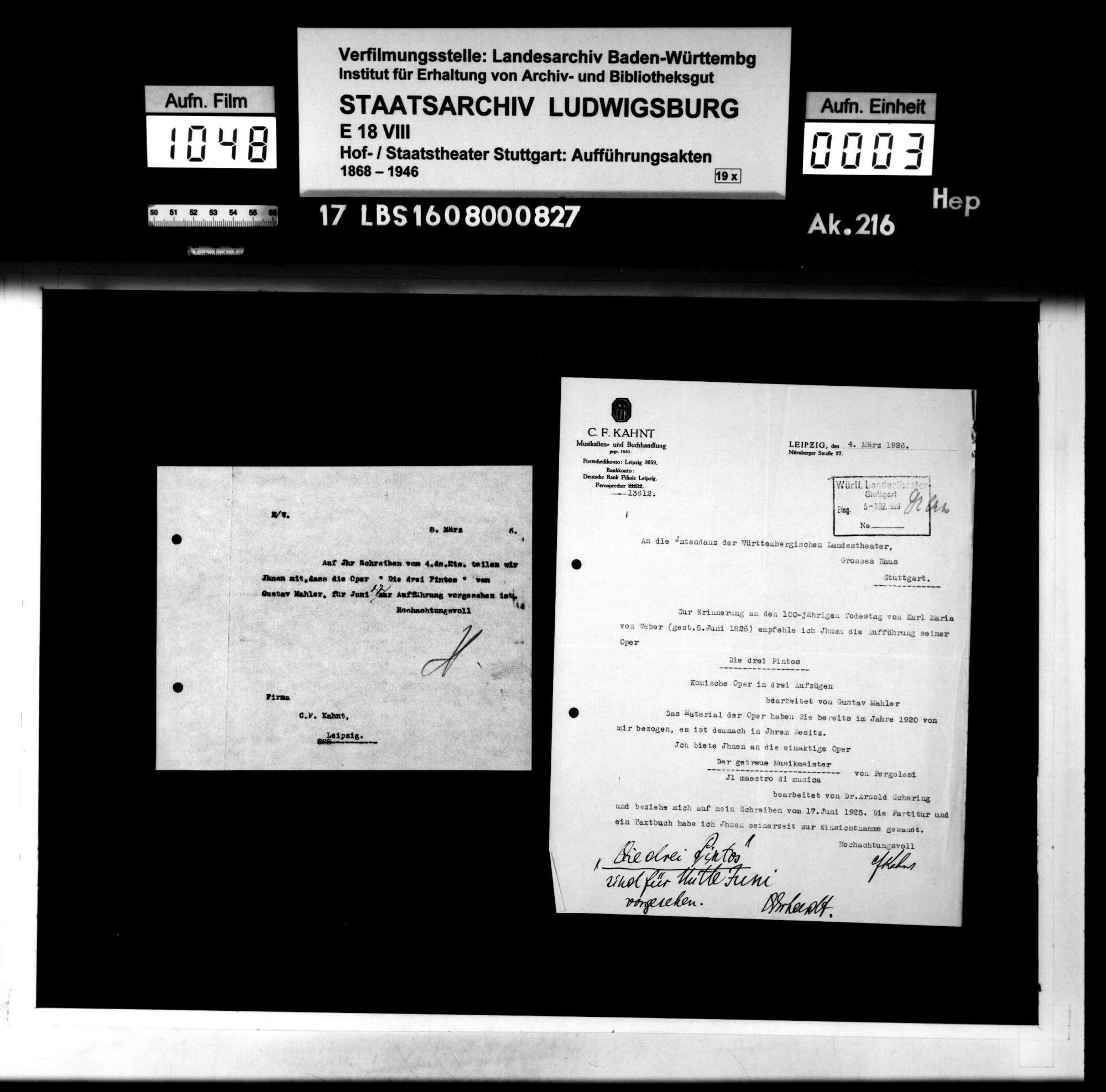 Die drei Pintos. Komische Oper von Carl Maria von Weber. Neue Bearbeitung: Karl von Weber. Musik: Gustav Mahler, Bild 2
