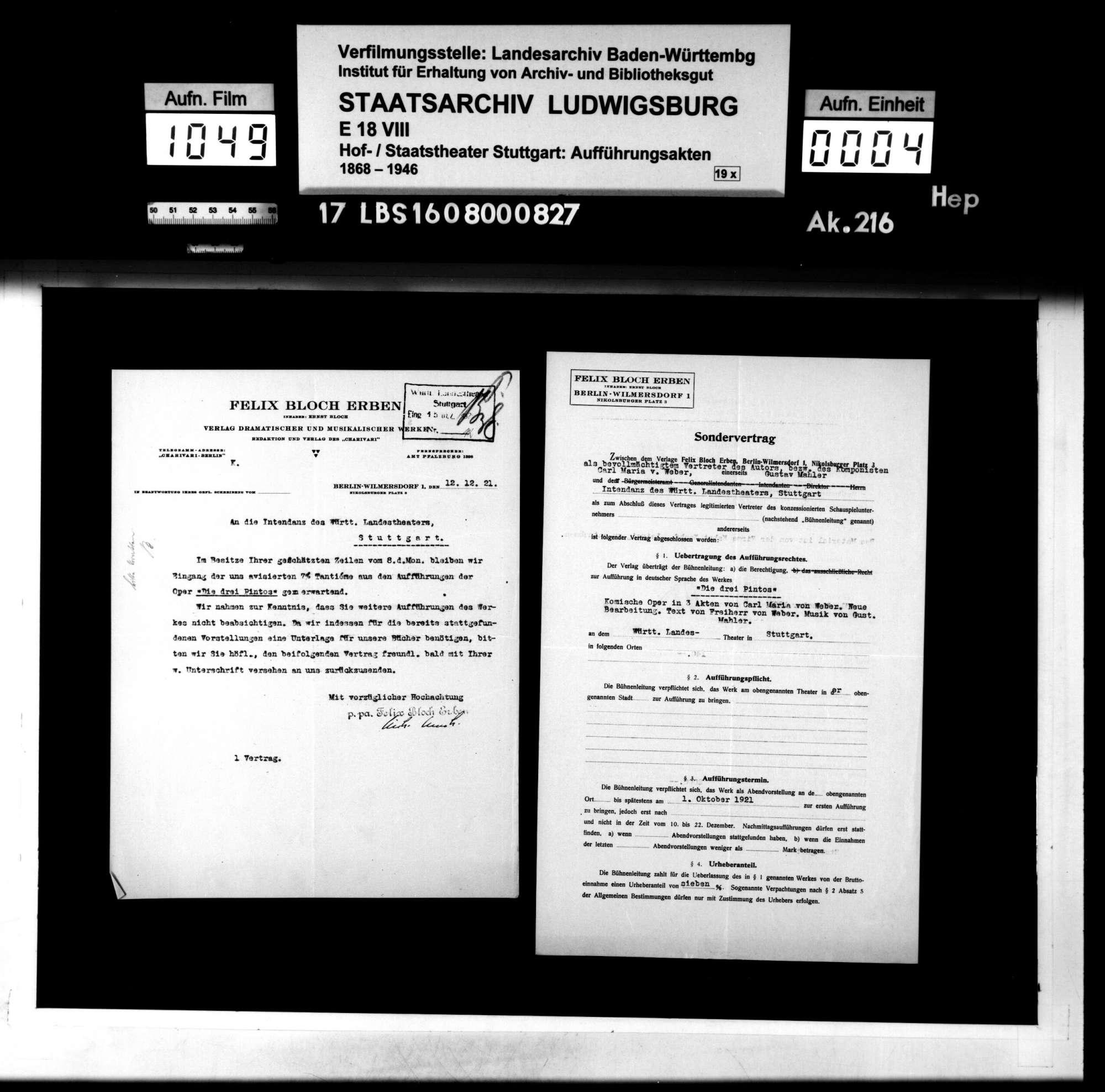 Die drei Pintos. Komische Oper von Carl Maria von Weber. Neue Bearbeitung: Karl von Weber. Musik: Gustav Mahler, Bild 3