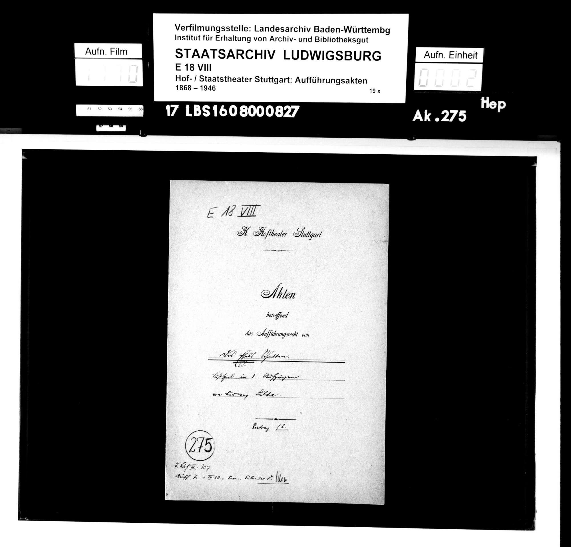 """Des Esels Schatten. Lustspiel von Ludwig Fulda mit freier Anlehnung an Christoph Martin Wielands """"Abderiten"""", Bild 1"""