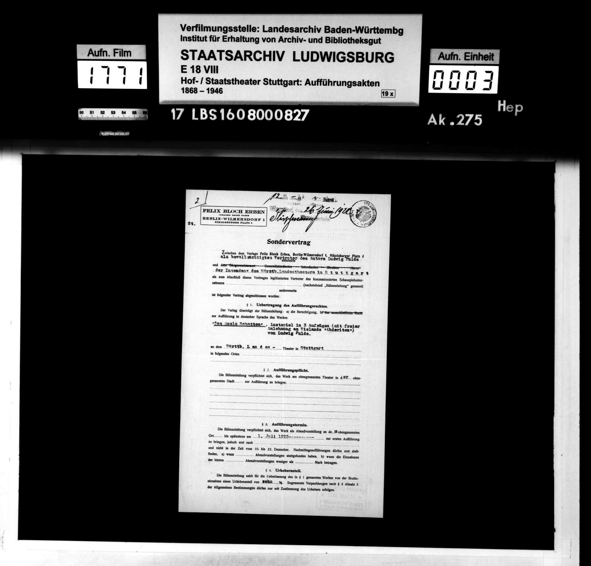 """Des Esels Schatten. Lustspiel von Ludwig Fulda mit freier Anlehnung an Christoph Martin Wielands """"Abderiten"""", Bild 2"""