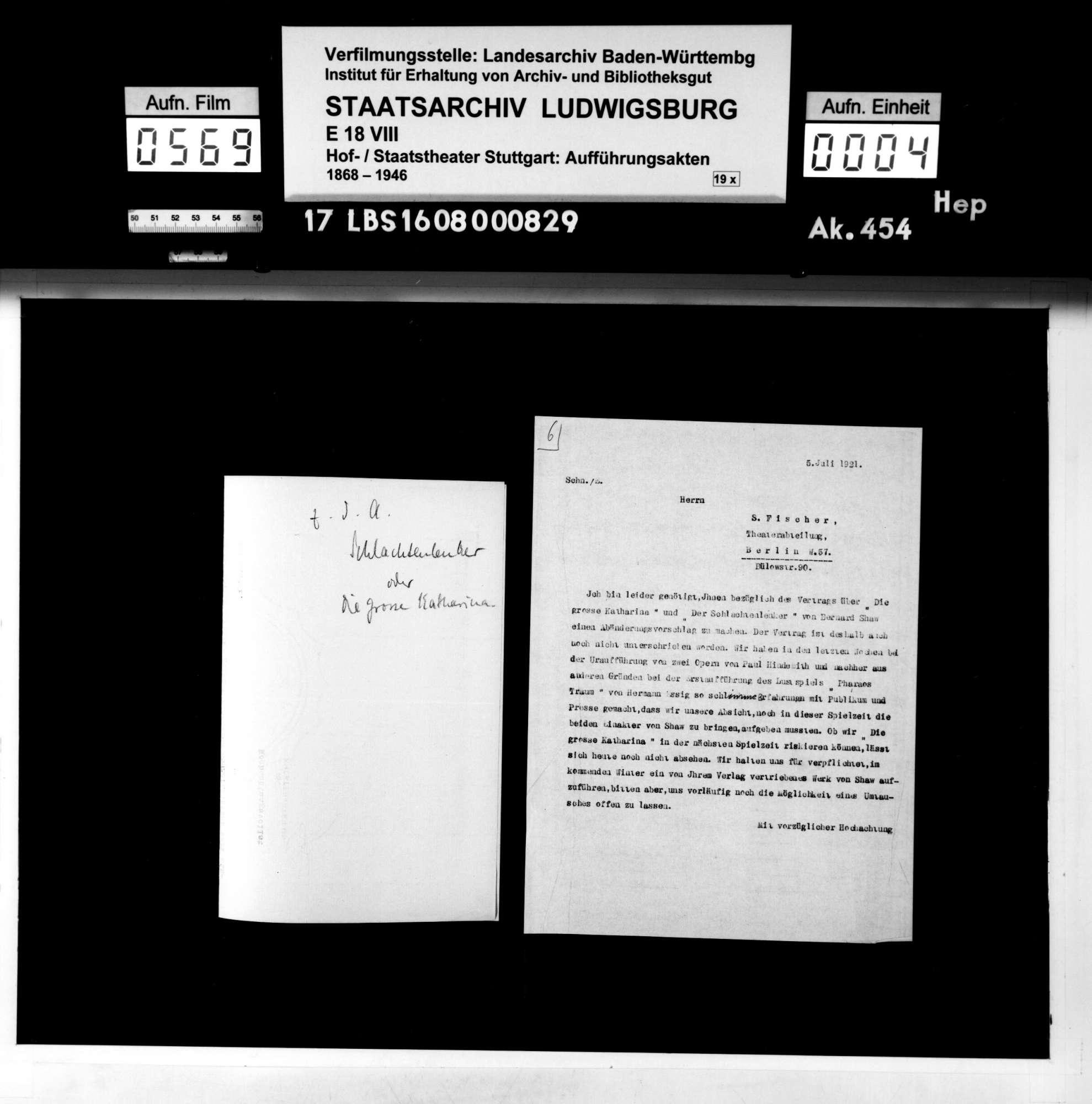 Die große Katharina. Schauspiel von George Bernard Shaw; deutsche Übersetzung von Siegfried Trebitsch, Bild 3