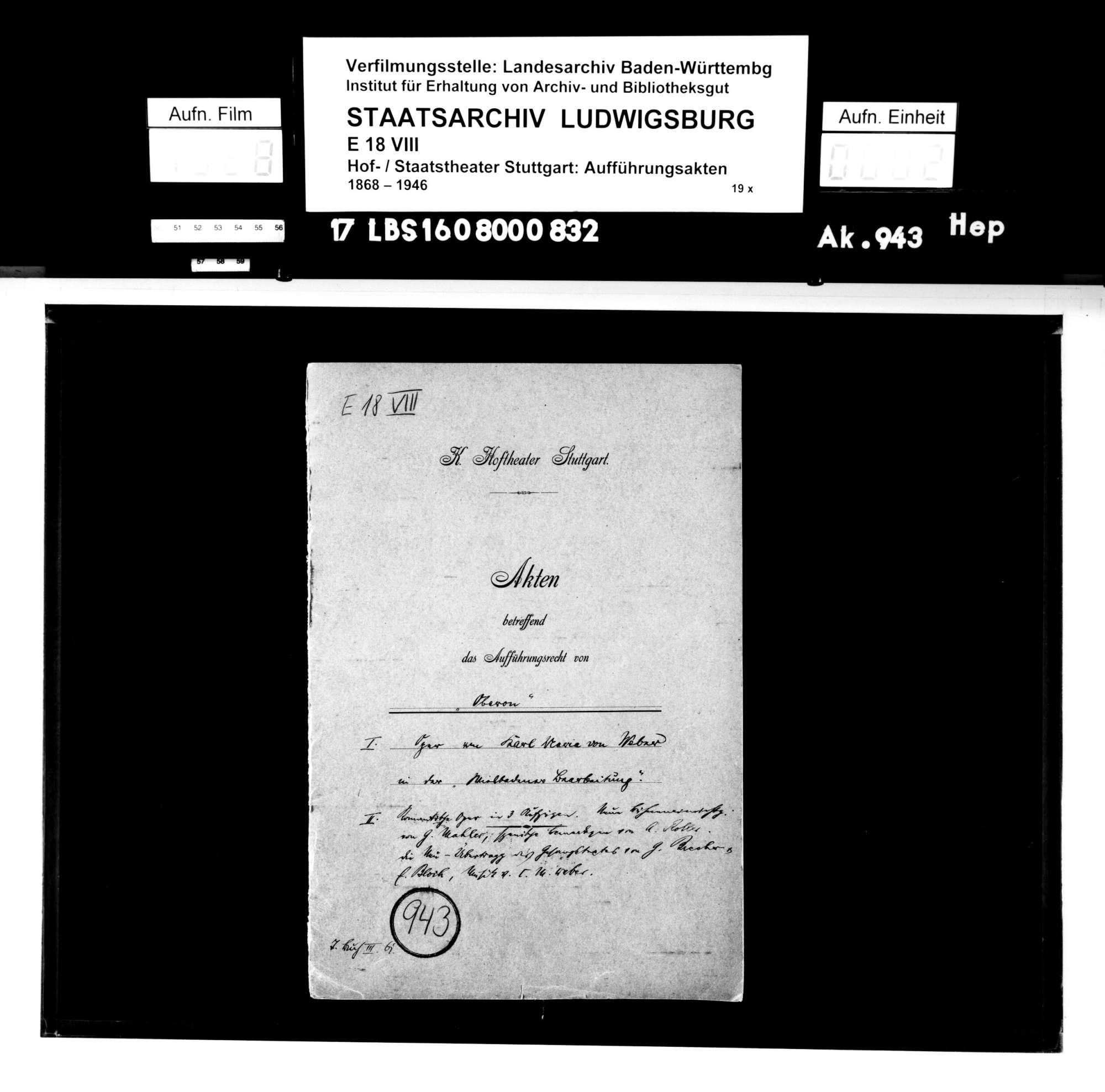 Oberon. Romantische Oper von Carl Maria von Weber; bearbeitet von Gustav Mahler. Szenische Bemerkungen von Alfred Roller. Neu-Übertragung von Gustav Brecher und E. Bloch., Bild 1