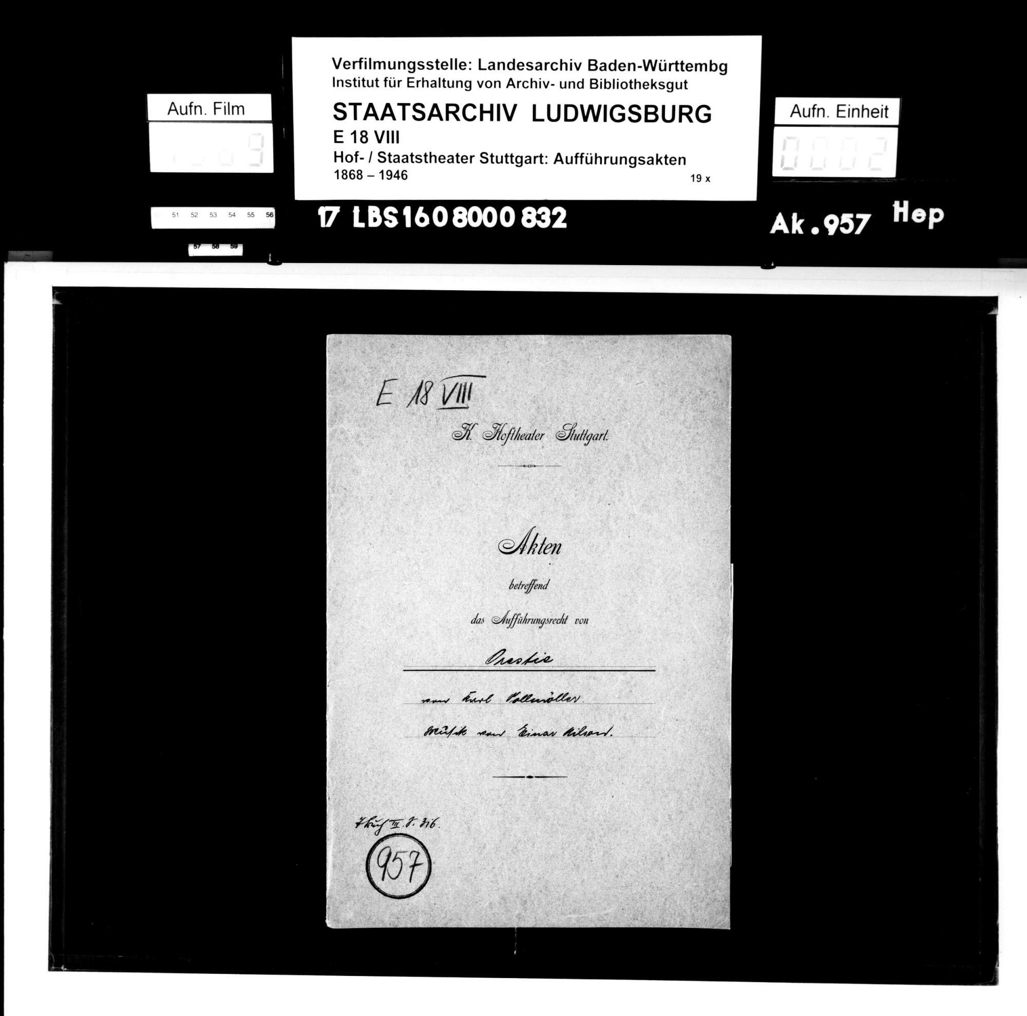 Orestie. Schauspiel von Karl Gustav Vollmöller; Musik: Einar Nilson, Bild 1