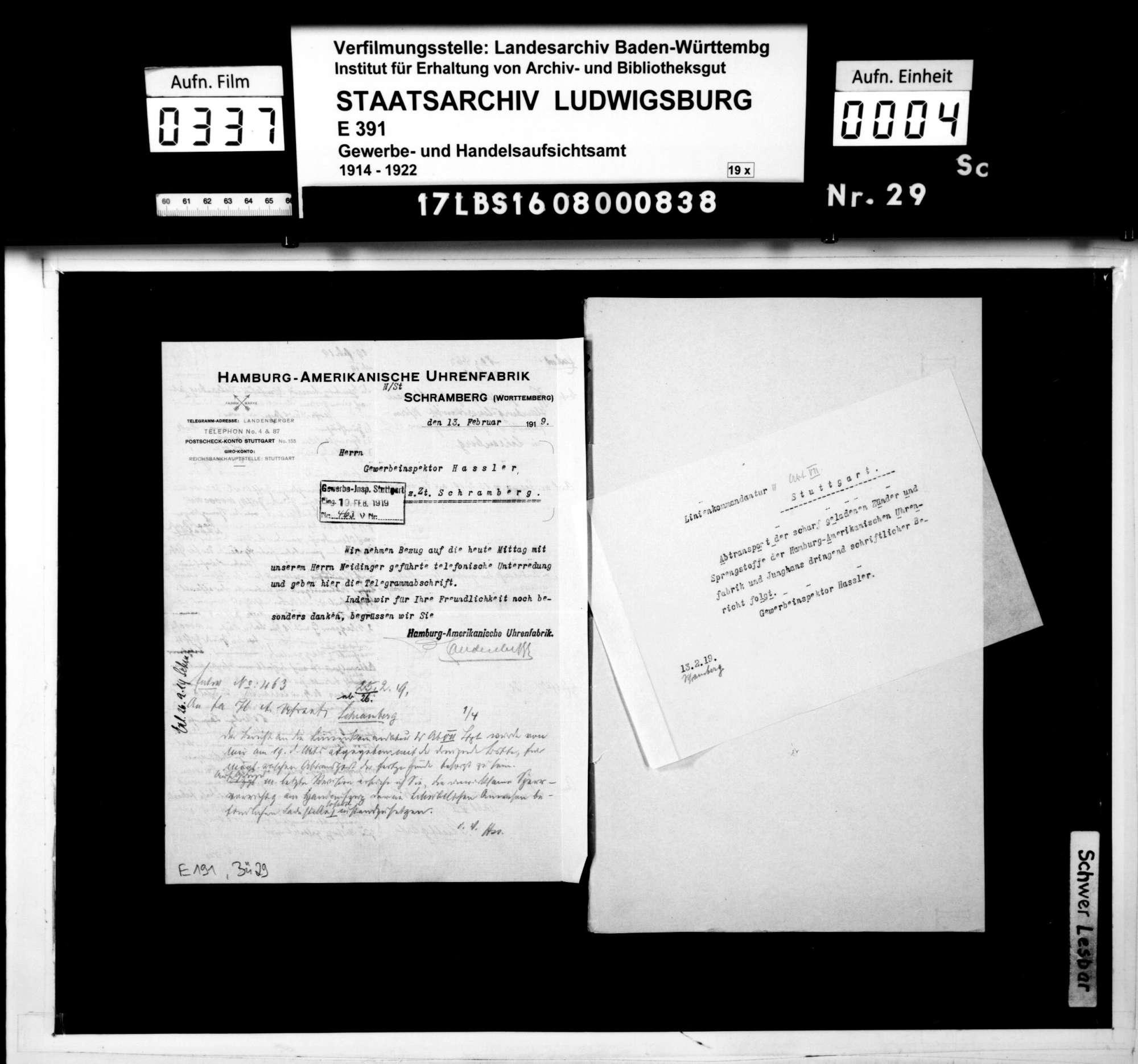 Hamburg-Amerikanische Uhrenfabrik, Schramberg: Herstellung von Geschoßzündern, Bild 2