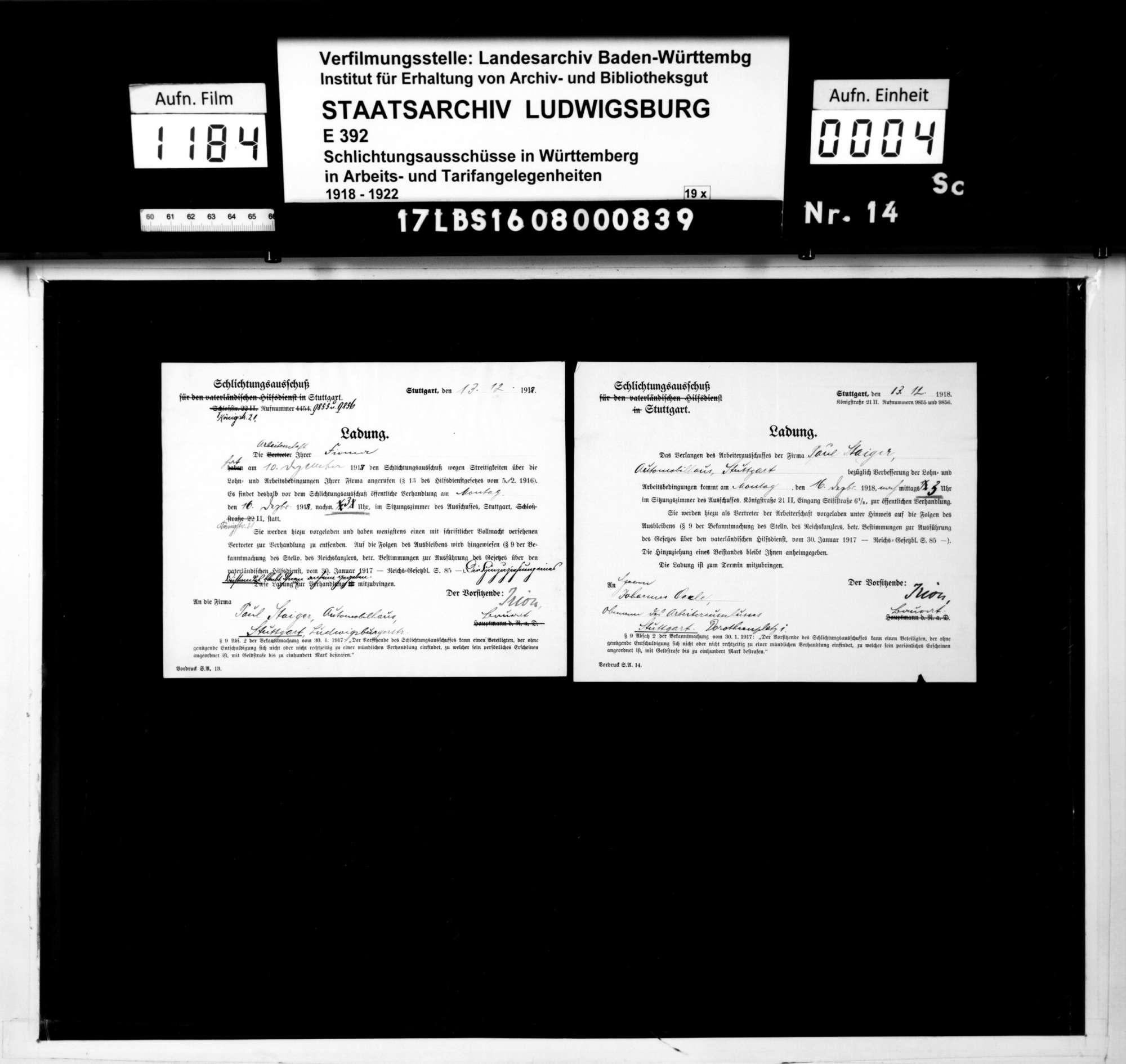 Lohnstreitigkeiten zwischen der Firma Paul Staiger, Automobilhaus, Stuttgart, und ihrer Arbeiterschaft, Bild 2