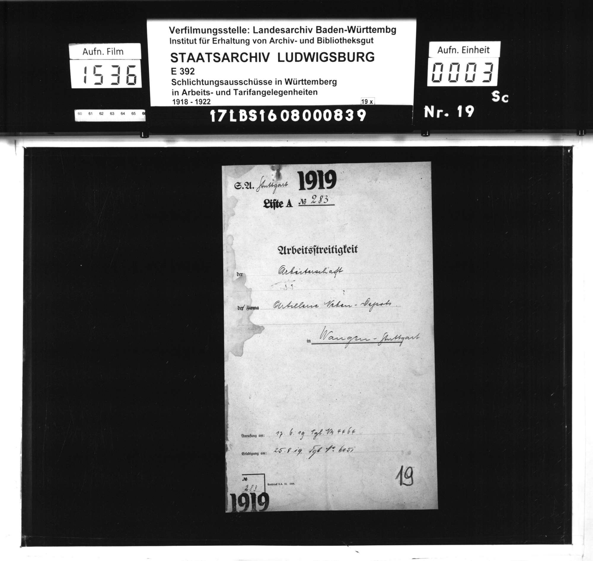 Arbeitsstreitigkeiten zwischen der Arbeiterschaft des Neben-Artilleriedepots Stuttgart Wangen und der Artillerie- und Traindepot-Direktion Stuttgart bzw. dem württembergischen Kriegsministerium wegen ausgebliebener Lohnfortzahlung während des Generalstreiks vom 31. März bis 7. April 1919, Bild 1