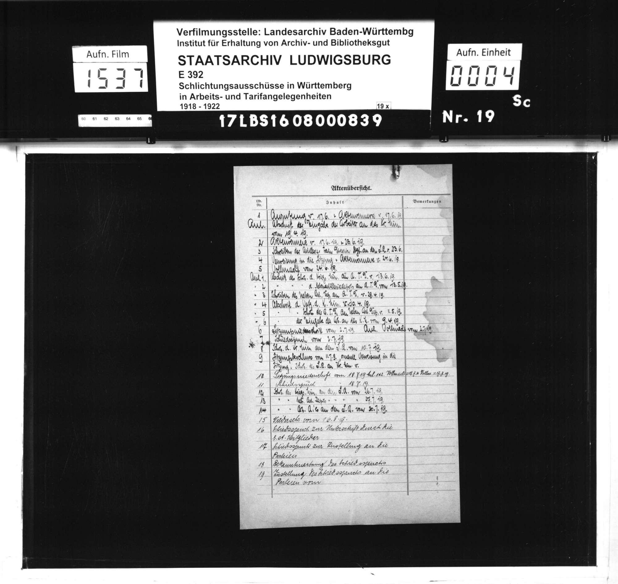 Arbeitsstreitigkeiten zwischen der Arbeiterschaft des Neben-Artilleriedepots Stuttgart Wangen und der Artillerie- und Traindepot-Direktion Stuttgart bzw. dem württembergischen Kriegsministerium wegen ausgebliebener Lohnfortzahlung während des Generalstreiks vom 31. März bis 7. April 1919, Bild 2