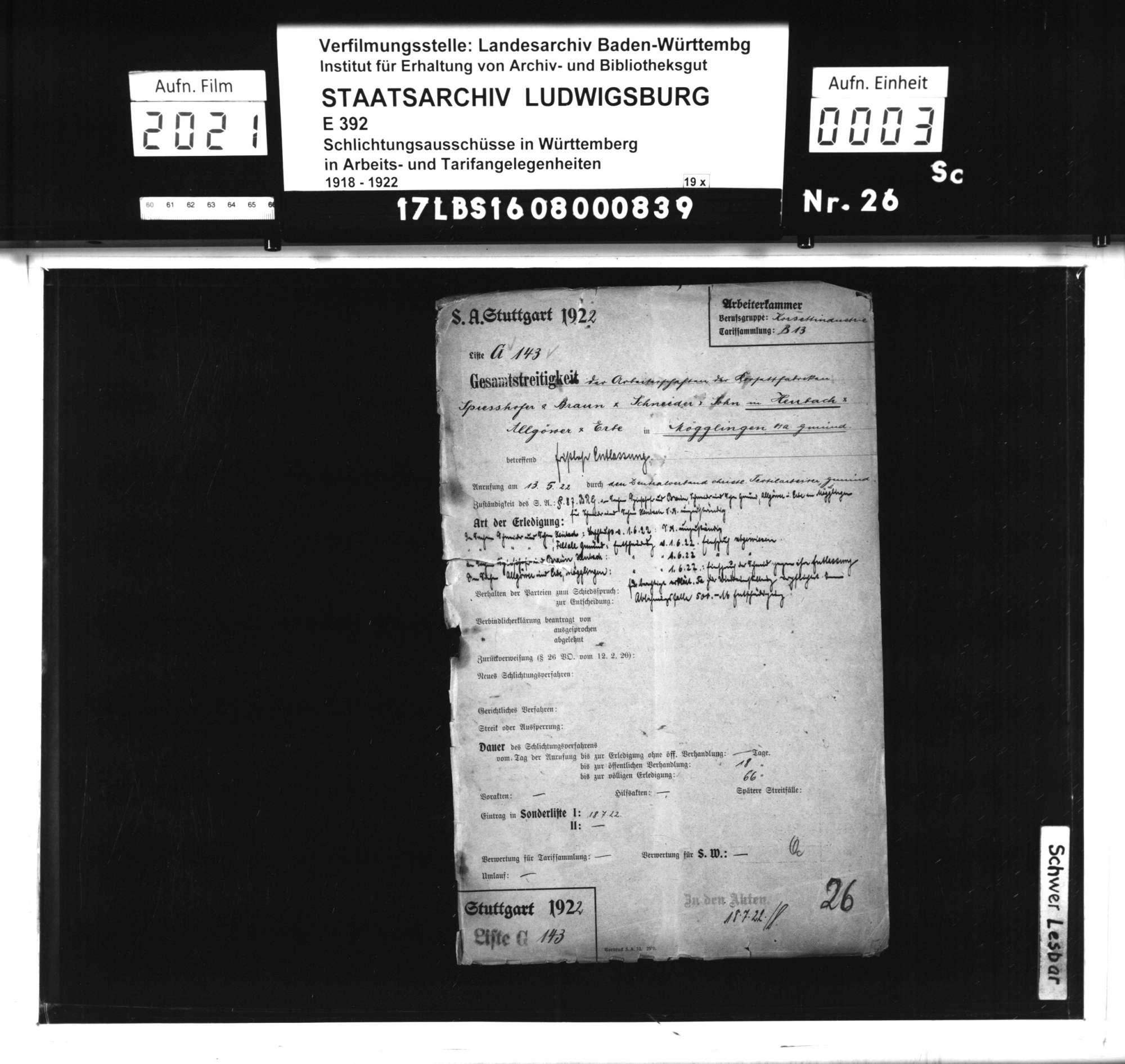 Arbeitsstreitigkeiten zwischen der Arbeiterschaft der Korsettfabriken Spiesshofer & Braun und Schneider & Sohn in Heubach sowie Allgöwer & Erbe, Mögglingen und ihren Betriebsleitungen wegen fristloser Kündigung von Teilen der Arbeiterschaft, Bild 1