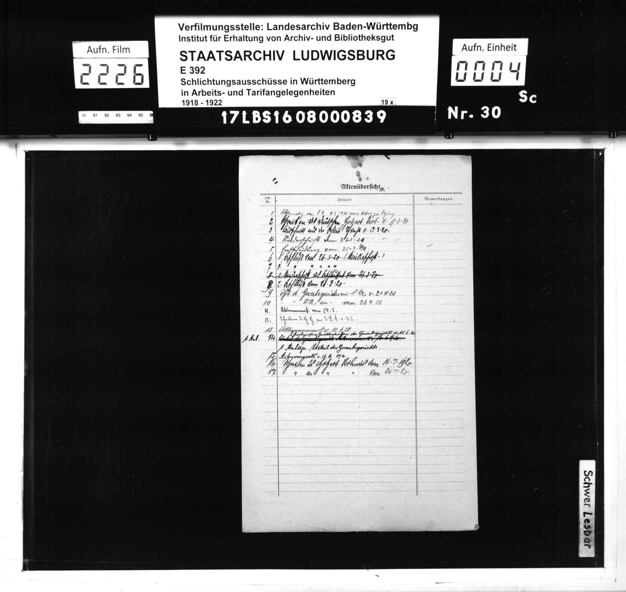 Arbeitsstreitigkeiten der Schreinergesellen Wilhelm Blessing und Wilhelm Layer von Holzgerlingen mit den Firmen Gottlieb Fuchs, mechanische Bau- und Möbelschreinerei, sowie M. Kohler, Bau- und Möbelschreinerei, in Stuttgart wegen Entlassung und Lohnausfall, Bild 2