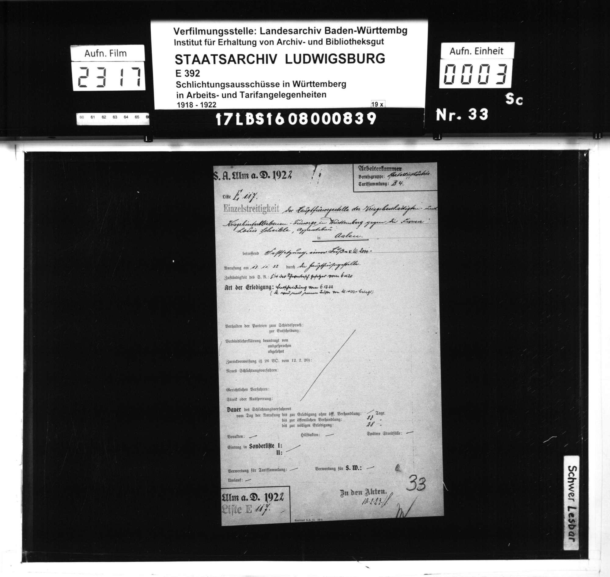 Streitigkeit der Hauptfürsorgestelle der Kriegsbeschädigten - und Kriegshinterbliebenen-Fürsorge in Württemberg mit der Firma Louis Scheible, Apparatebau, Kocherwerke Aalen, betreffend Festsetzung einer Buße wegen verweigerter bzw. verzögerter Beantwortung eines Fragebogens zur Beschäftigung Schwerbehinderter, Bild 1