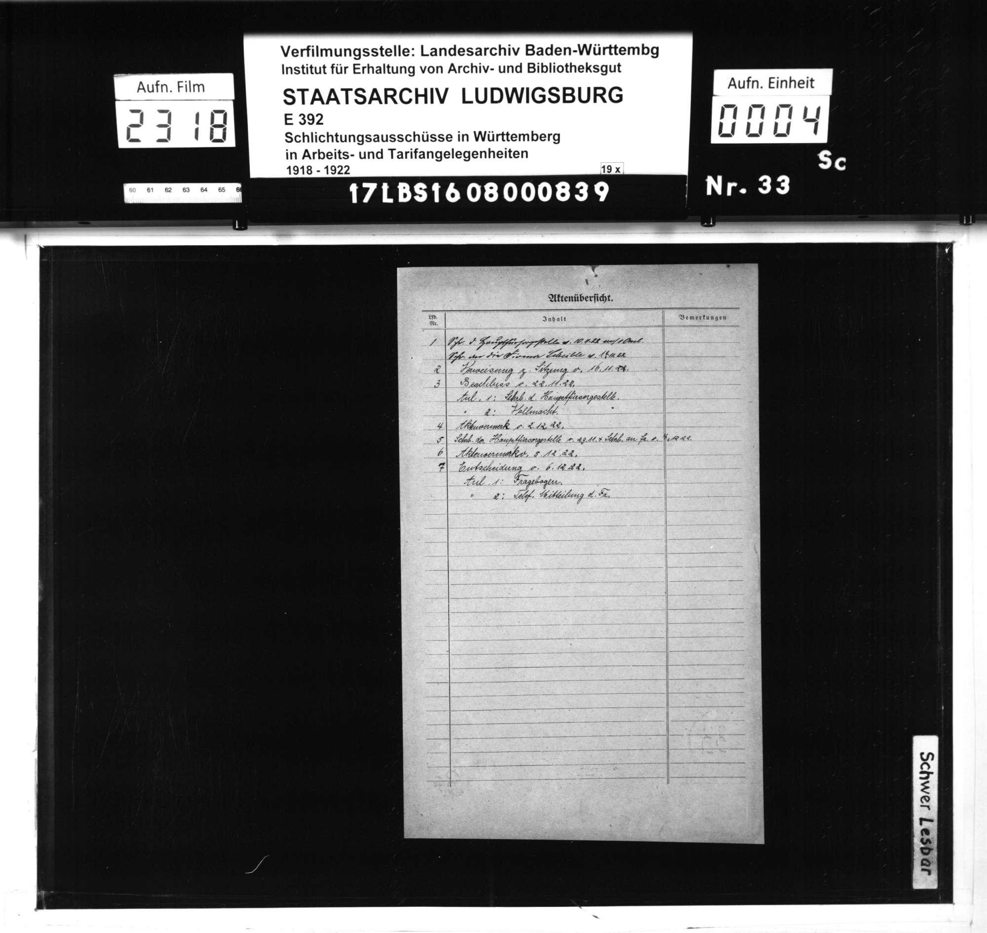 Streitigkeit der Hauptfürsorgestelle der Kriegsbeschädigten - und Kriegshinterbliebenen-Fürsorge in Württemberg mit der Firma Louis Scheible, Apparatebau, Kocherwerke Aalen, betreffend Festsetzung einer Buße wegen verweigerter bzw. verzögerter Beantwortung eines Fragebogens zur Beschäftigung Schwerbehinderter, Bild 2