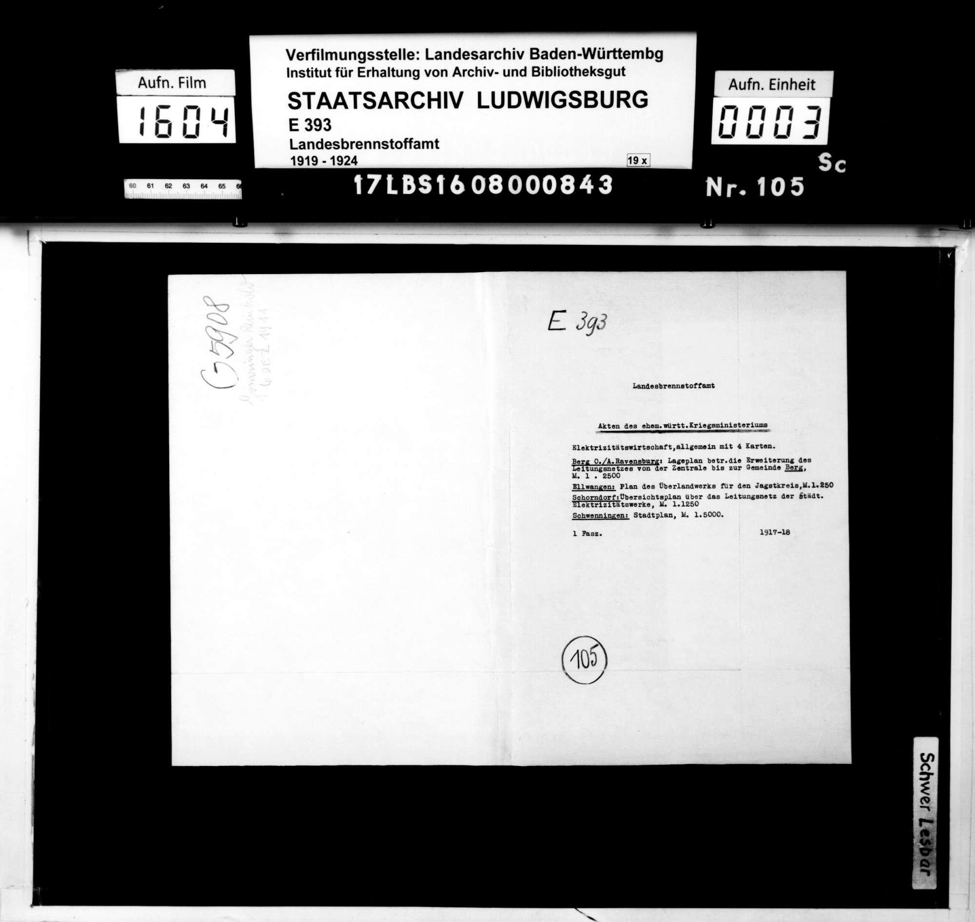 Elektrizitätswirtschaft, allgemein (mit 4 Karten); Berg O. /A. Ravensburg: Lageplan betr. die Erweiterung des Leitungsnetzes von der Zentrale bis zur Gemeinde Berg, M. 1:2500; Ellwangen: Plan des Überlandwerks für den Jagstkreis, M. 1:250; Schorndorf: Übersichtsplan über das Leitungsnetz der Städt. Elektrizitätswerke, M. 1:1250; Schwenningen: Stadtplan, M. 1:5000, Bild 1