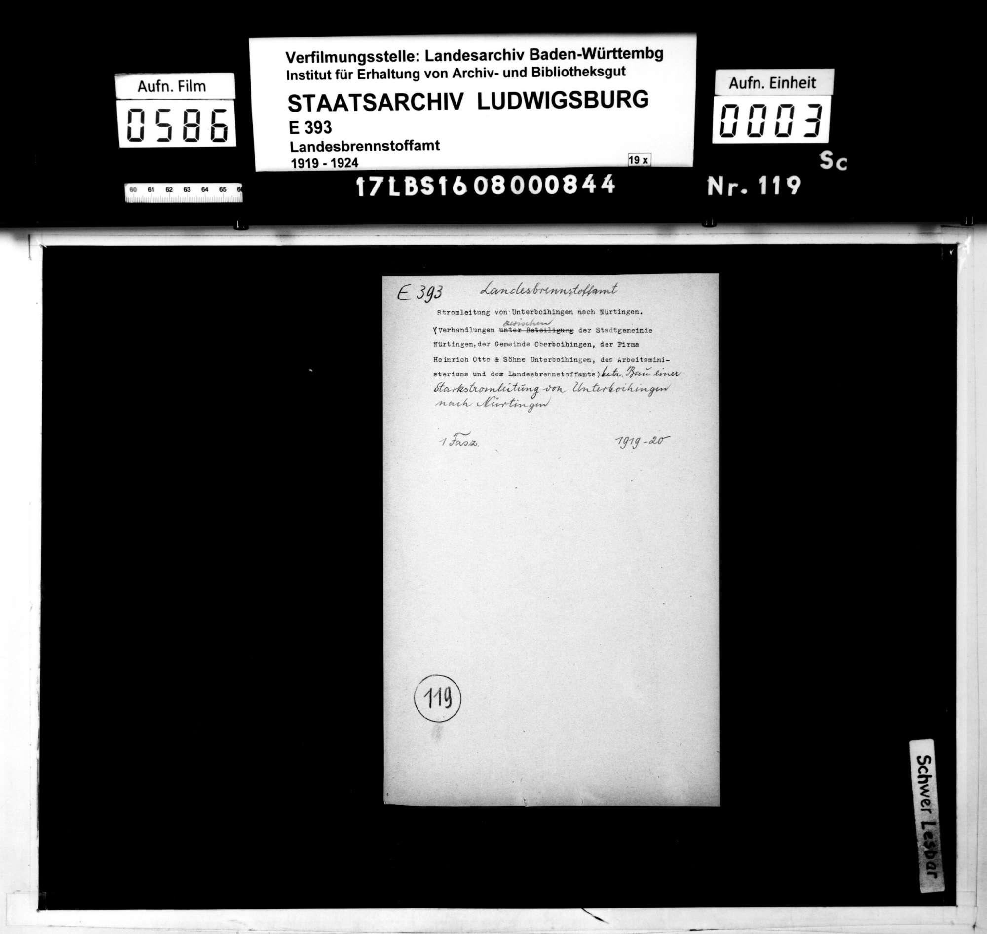 Verhandlungen zwischen der Stadtgemeinde Nürtingen, der Gemeinde Oberboihingen, der Firma Heinrich Otto und Söhne, Unterboihingen, und dem Landesbrennstoffamt betr. den Bau einer Starkstromleitung von Unterboihingen nach Nürtingen, Bild 1