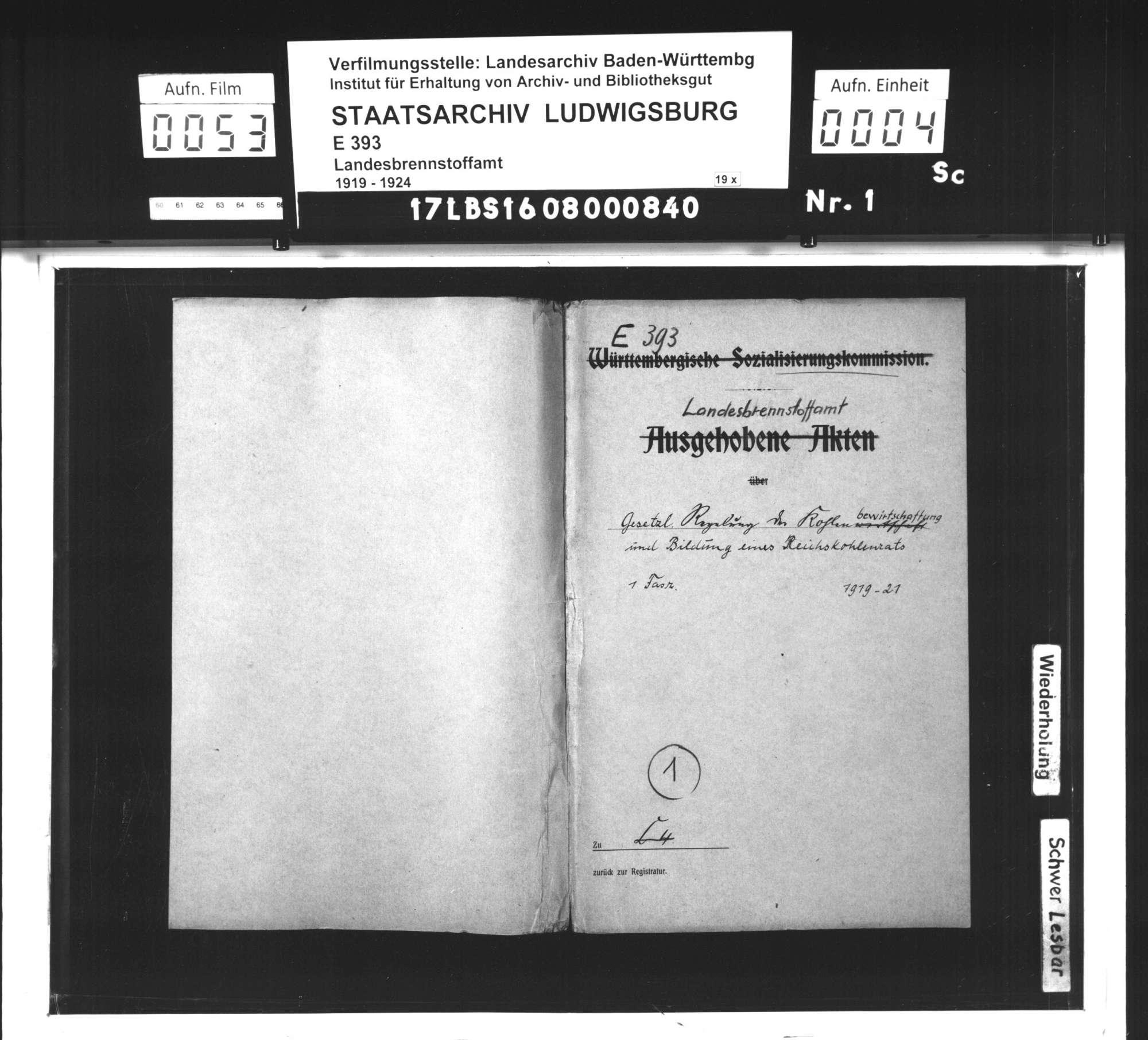 Gesetzliche Regelung der Kohlenbewirtschaftung und Bildung eines Reichskohlenrats, Bild 1