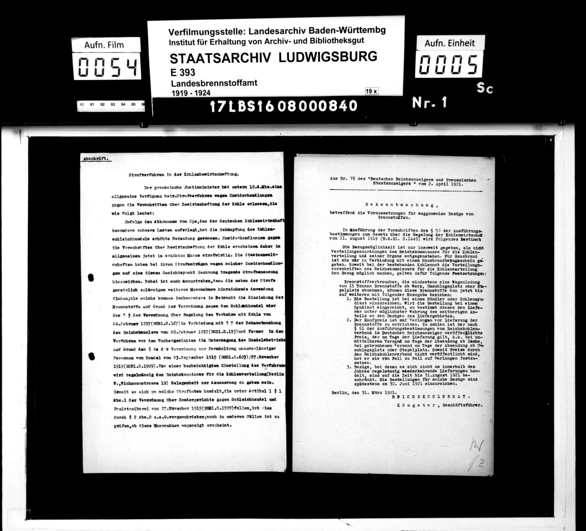 Gesetzliche Regelung der Kohlenbewirtschaftung und Bildung eines Reichskohlenrats, Bild 2