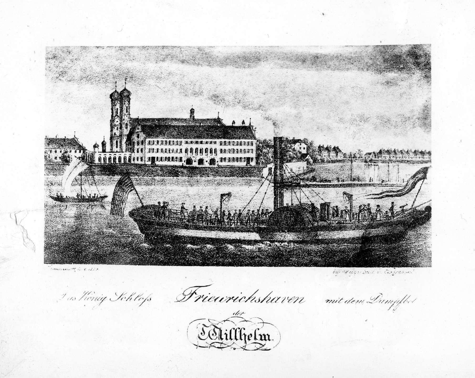 """Friedrichshafen, (""""Das König Schloss Friedrichshaven mit dem Dampfbo[o]t"""", Reprografie einer historischen Ansicht), Bild 1"""