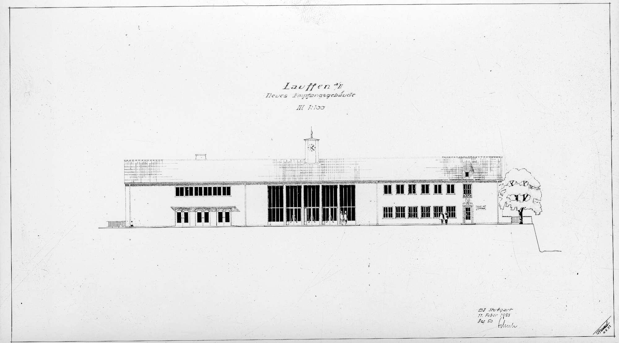 Lauffen am Neckar, neues Empfangsgebäude (Grundriss, Ansicht), Abb. c