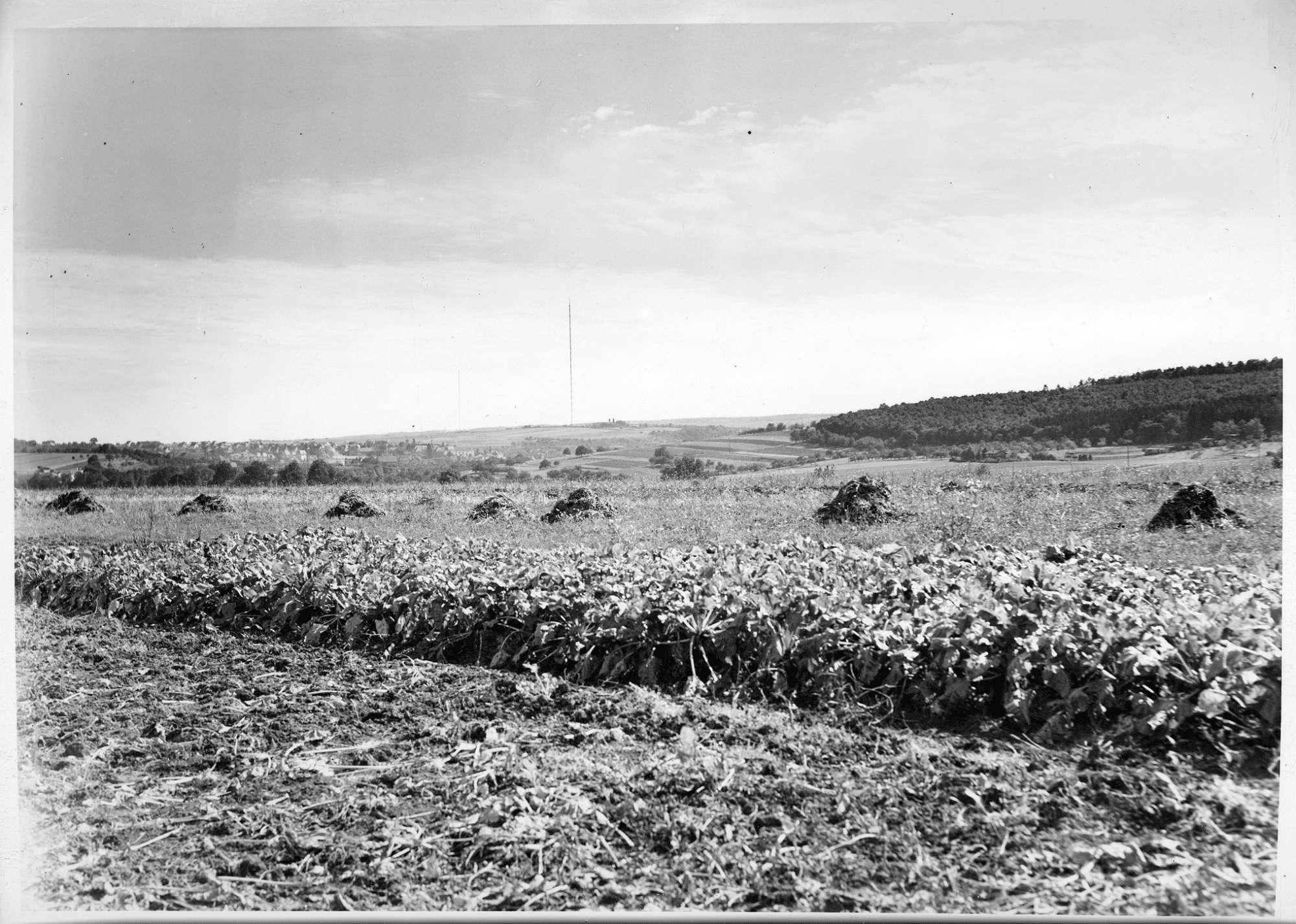Mühlacker, Bahnstromleitung, Panorama links vom Friedhof Ötisheim, Elektrifizierung Mühlacker-Pforzheim, Abb. c