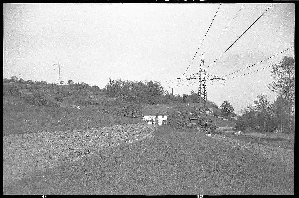 Mühlacker, Bahnstromleitung, Fernleitung Mühlacker-Karlsruhe, Masten im Enzberger Tal, Abb. b