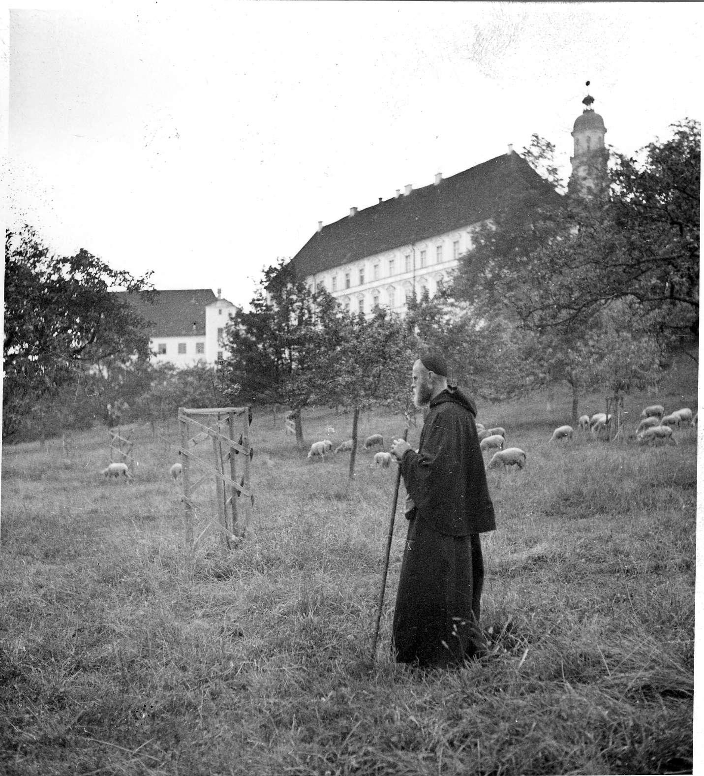 Neresheim, (Ansicht des Klosters mit Mönch und Schafen), Abb. a