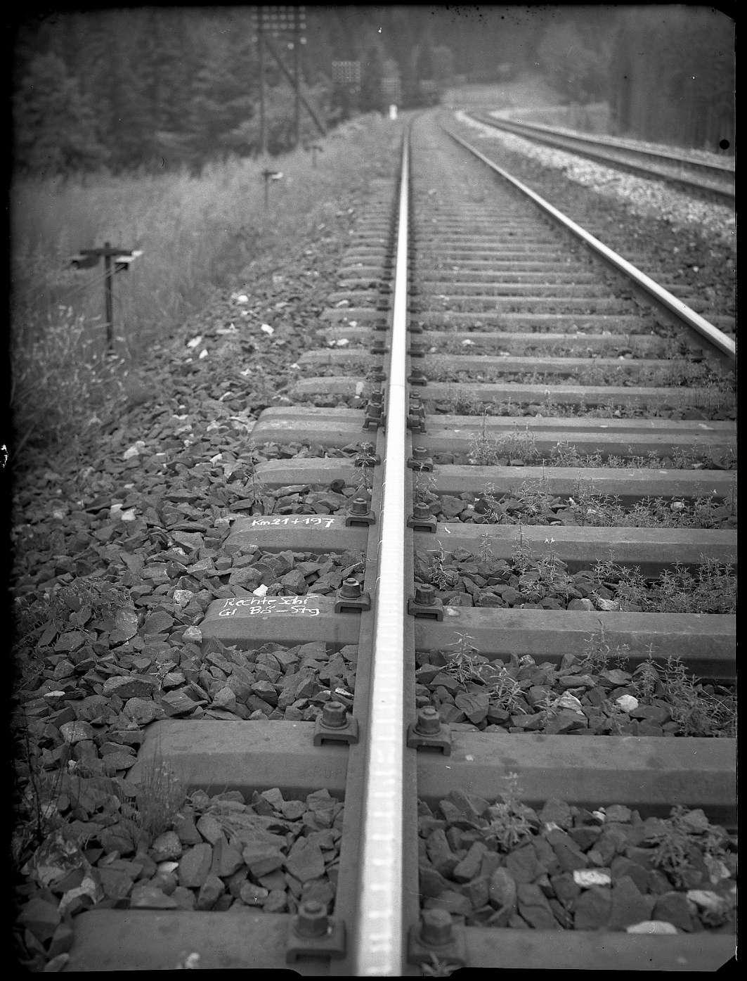Sindelfingen, Strecke Stuttgart-Horb, Block Mönchsbrunnen, Riffelbildung an Schienen, Bild 1