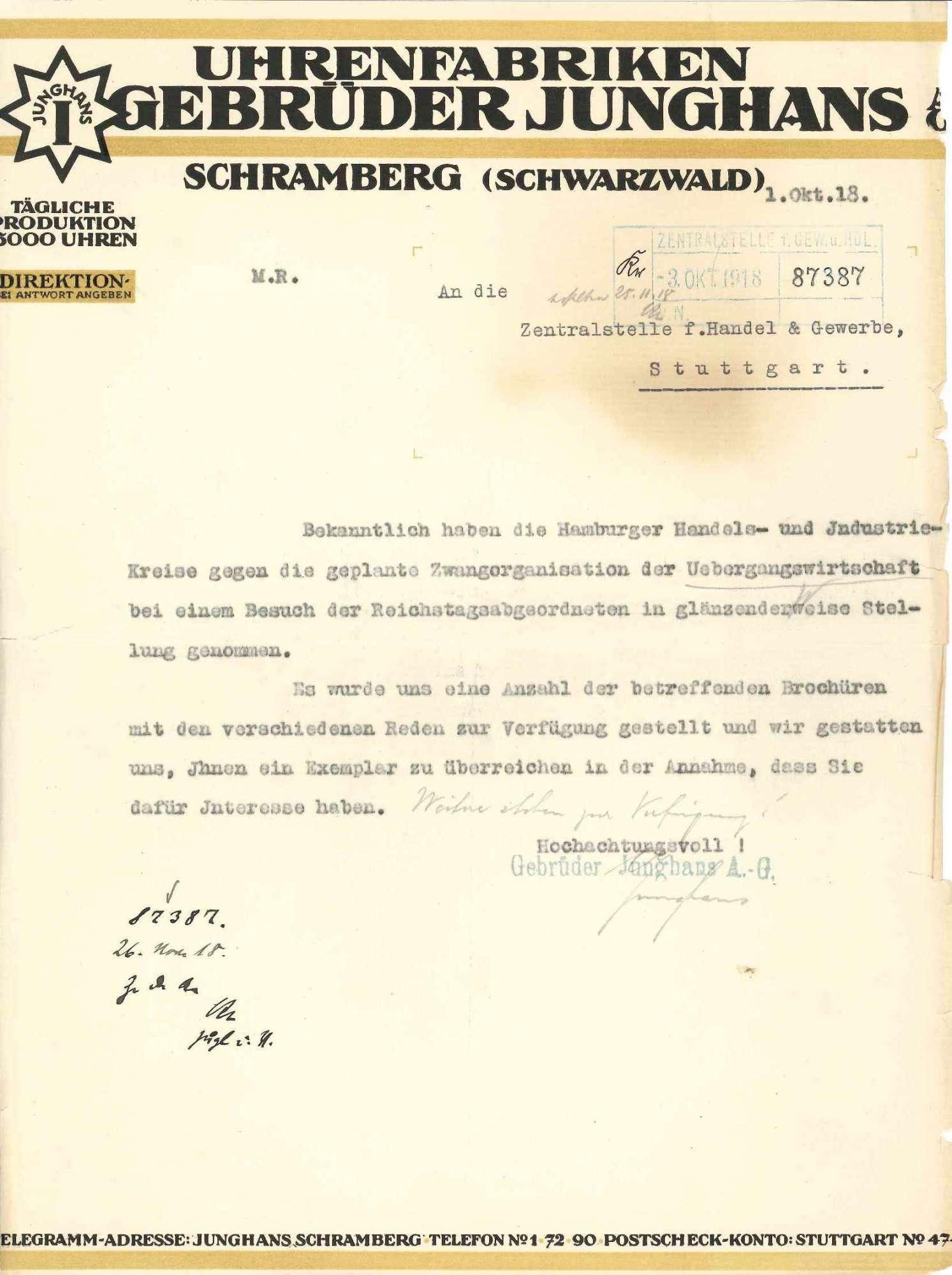 Eingaben und Äußerungen der Firma Gebrüder Junghans AG, Uhrenfabriken in Schramberg, betr. die Durchführung der Übergangswirtschaft in Bezug auf die Beschaffung von Rohstoffen, Bild 2