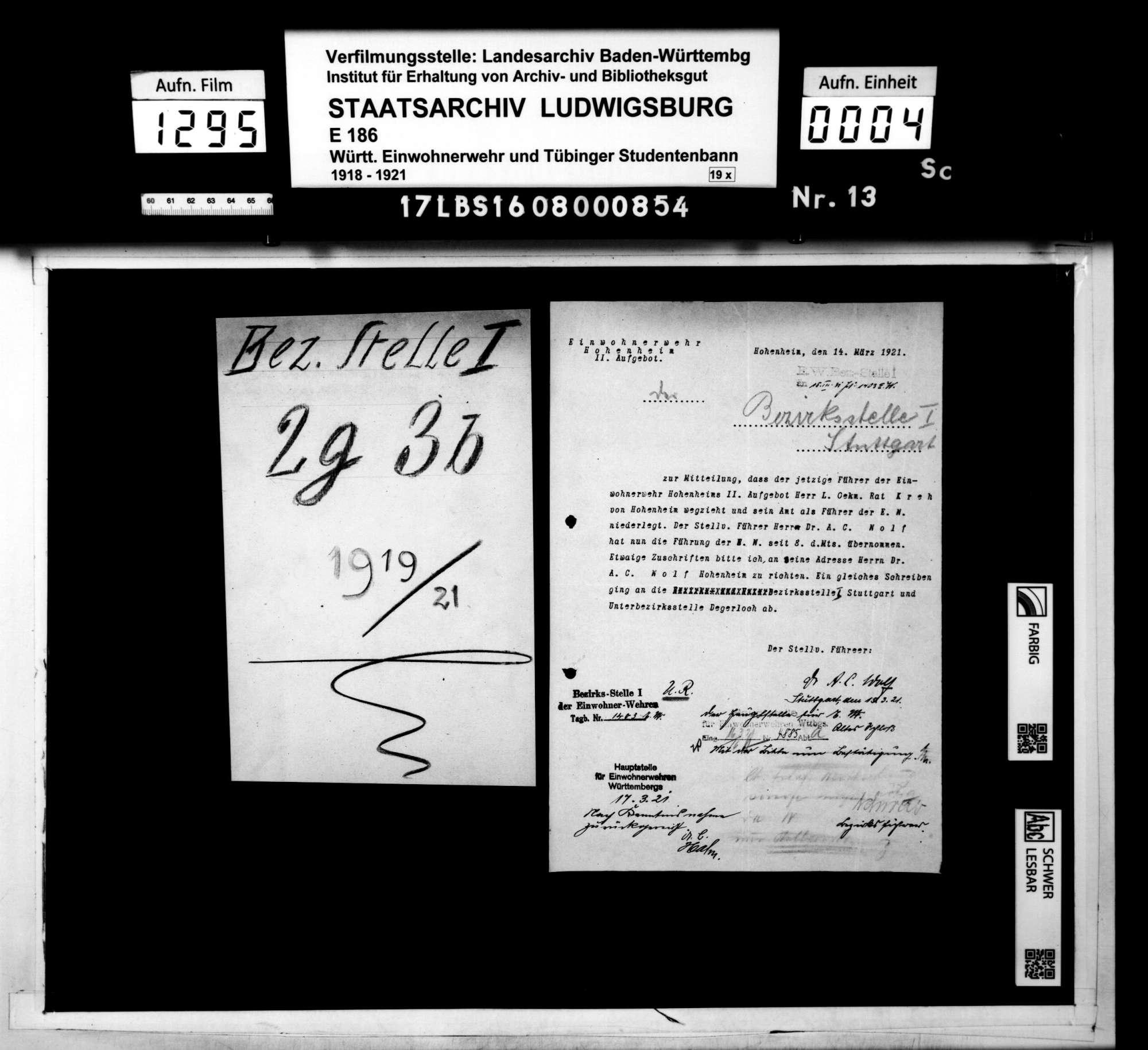Stellenbesetzungen, Zeugmeister, Bild 1