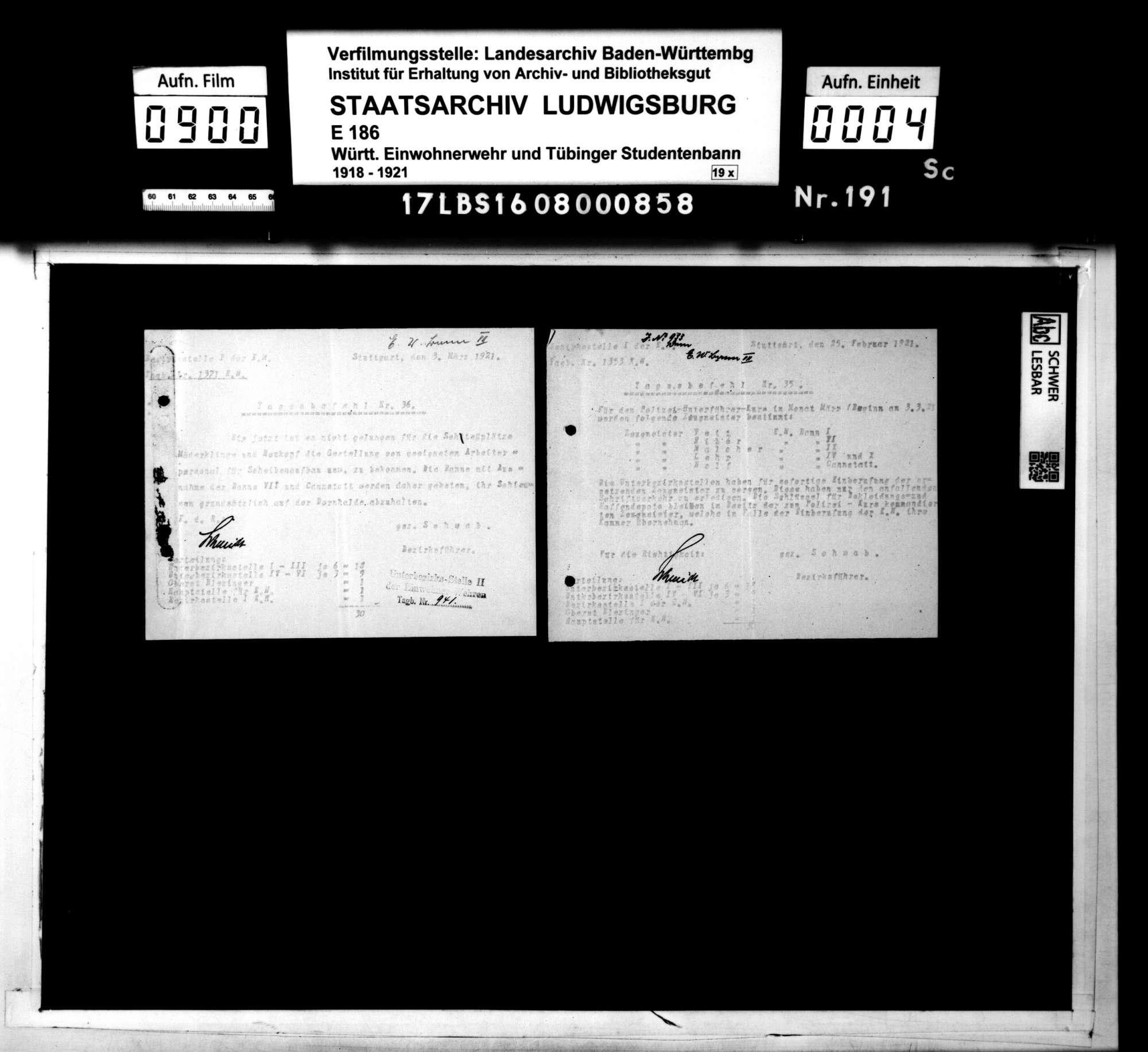 (Tages-) Befehle der Bezirksstelle 1 Stuttgart, Bild 2