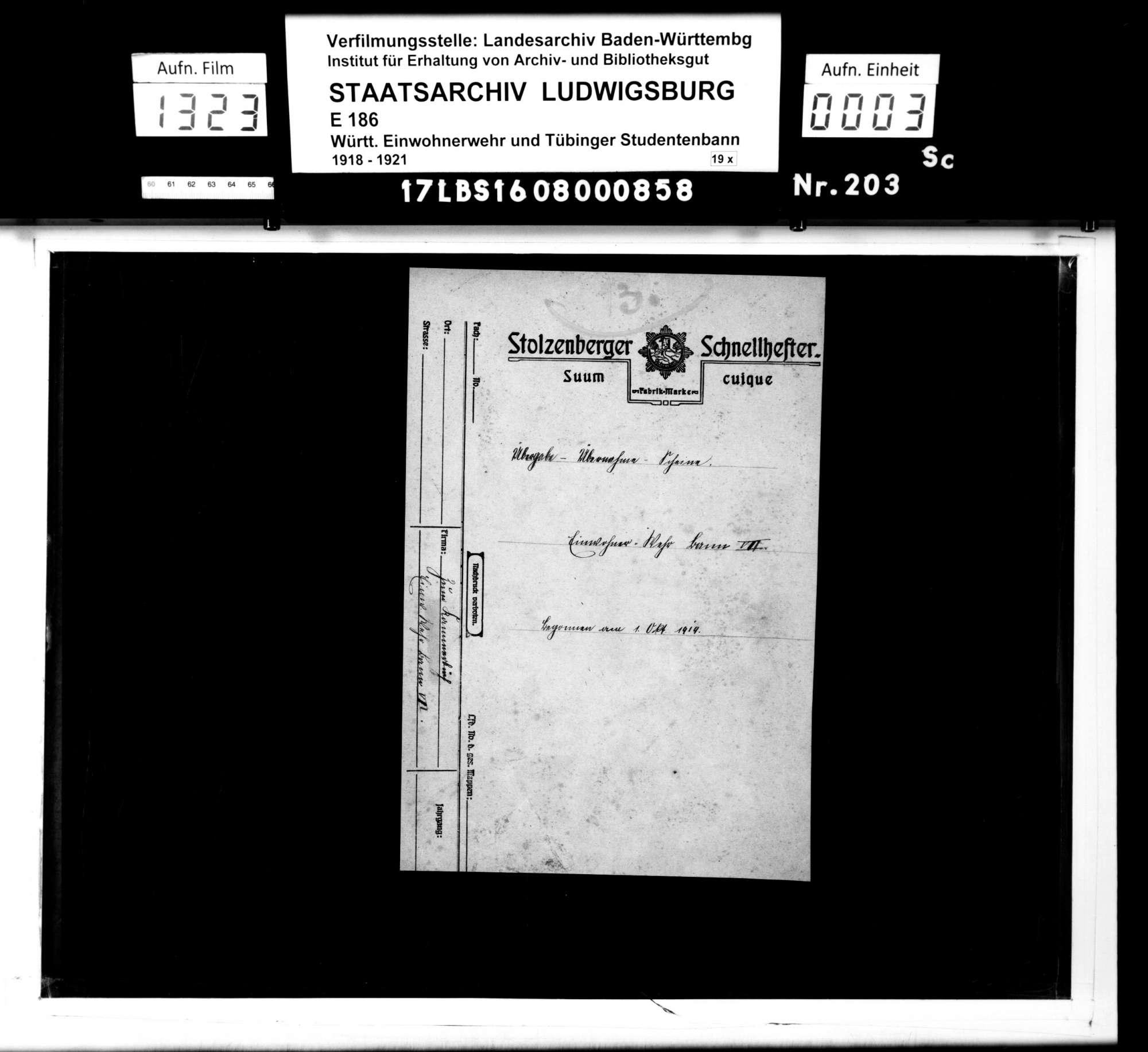Einnahme- und Ausgabescheine für Material, Bild 1