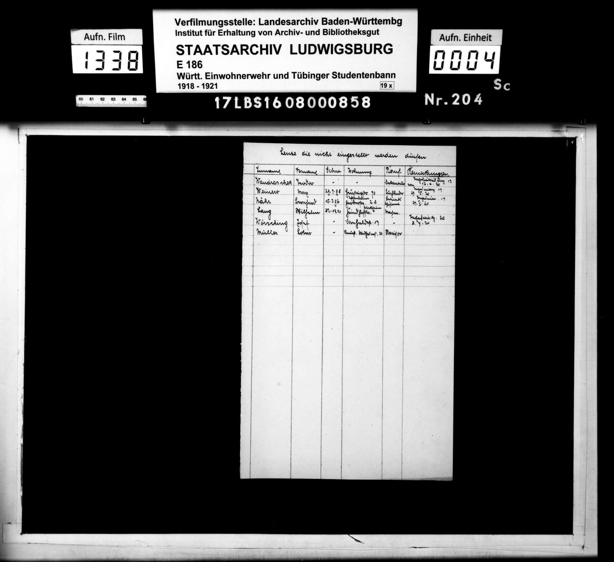 Verzeichnisse der nicht in die Einwohnerwehr aufgenommenen Personen, Bild 2