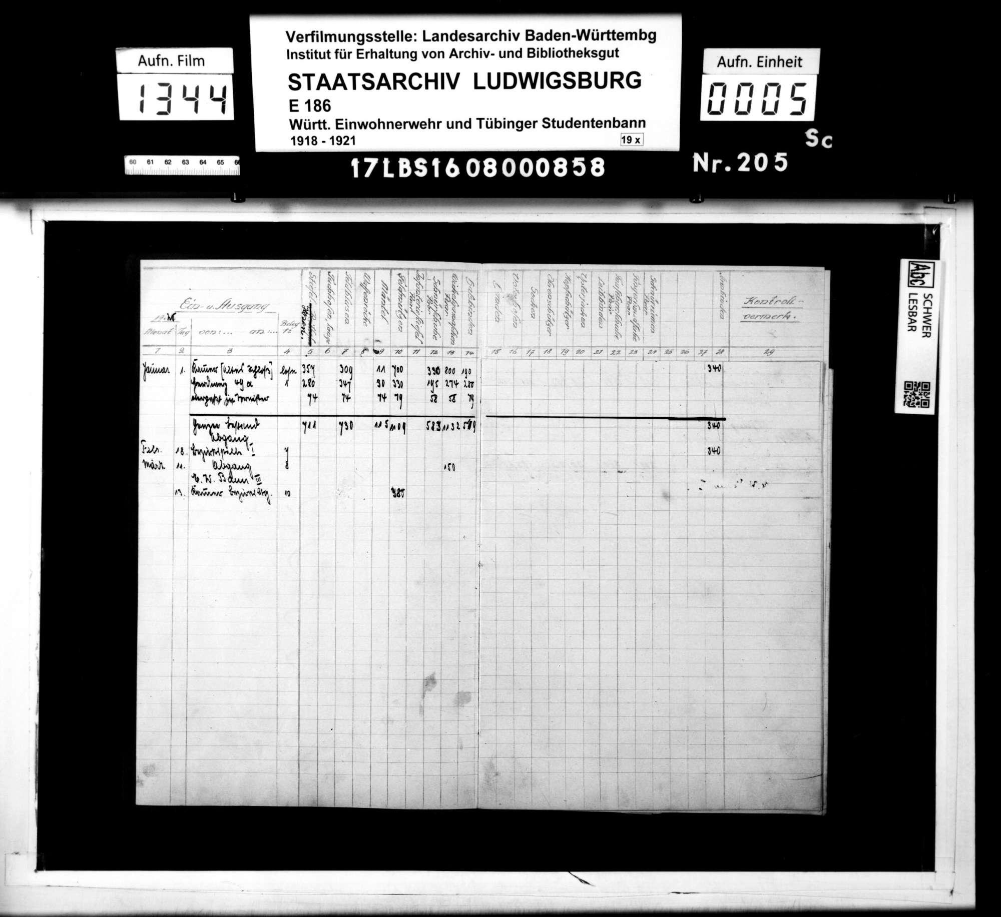 Bestandsbuch Bekleidung und Ausrüstung, Bild 3