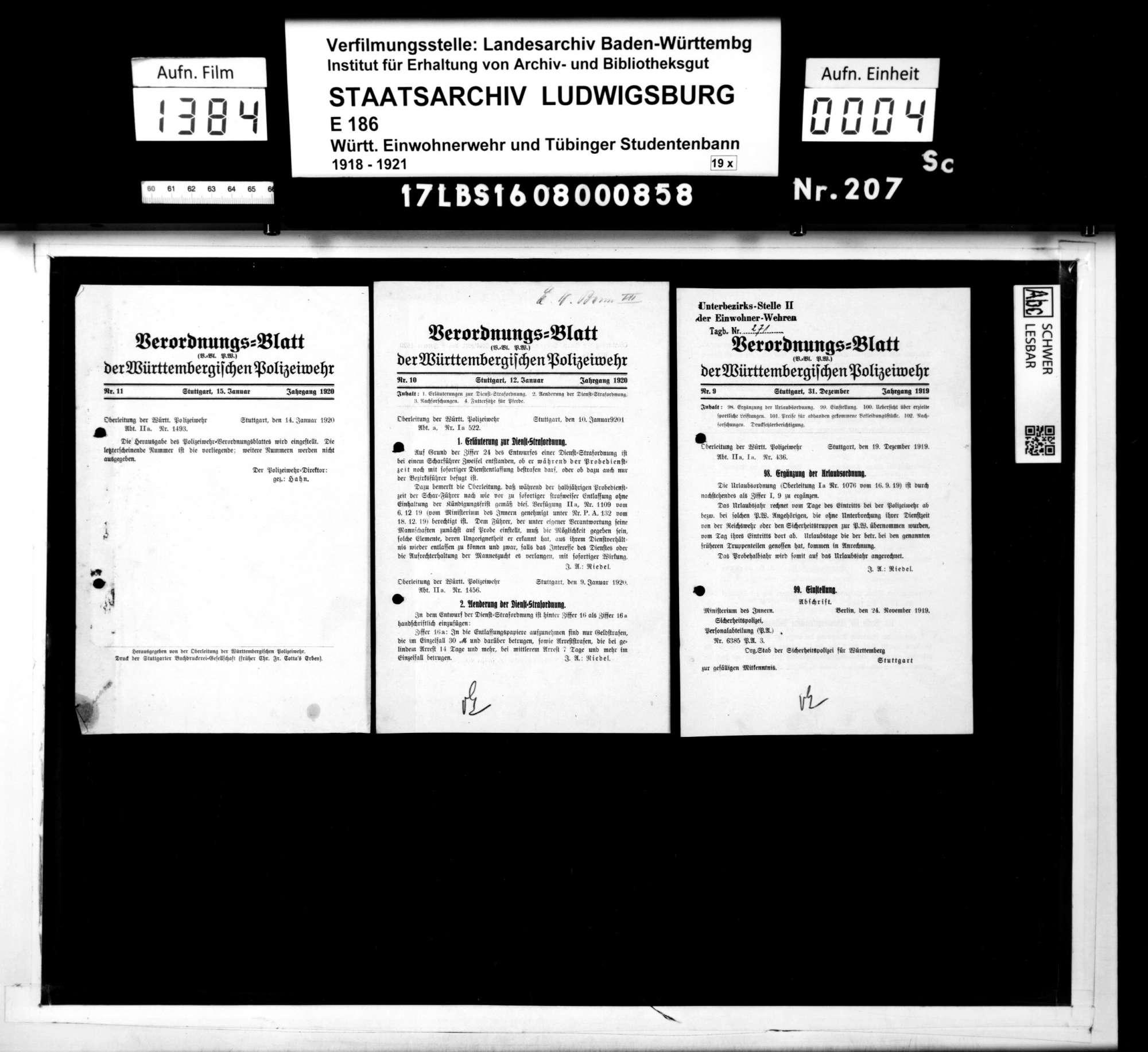 Verordnungsblätter der Württembergischen Polizeiwehr, Bild 2
