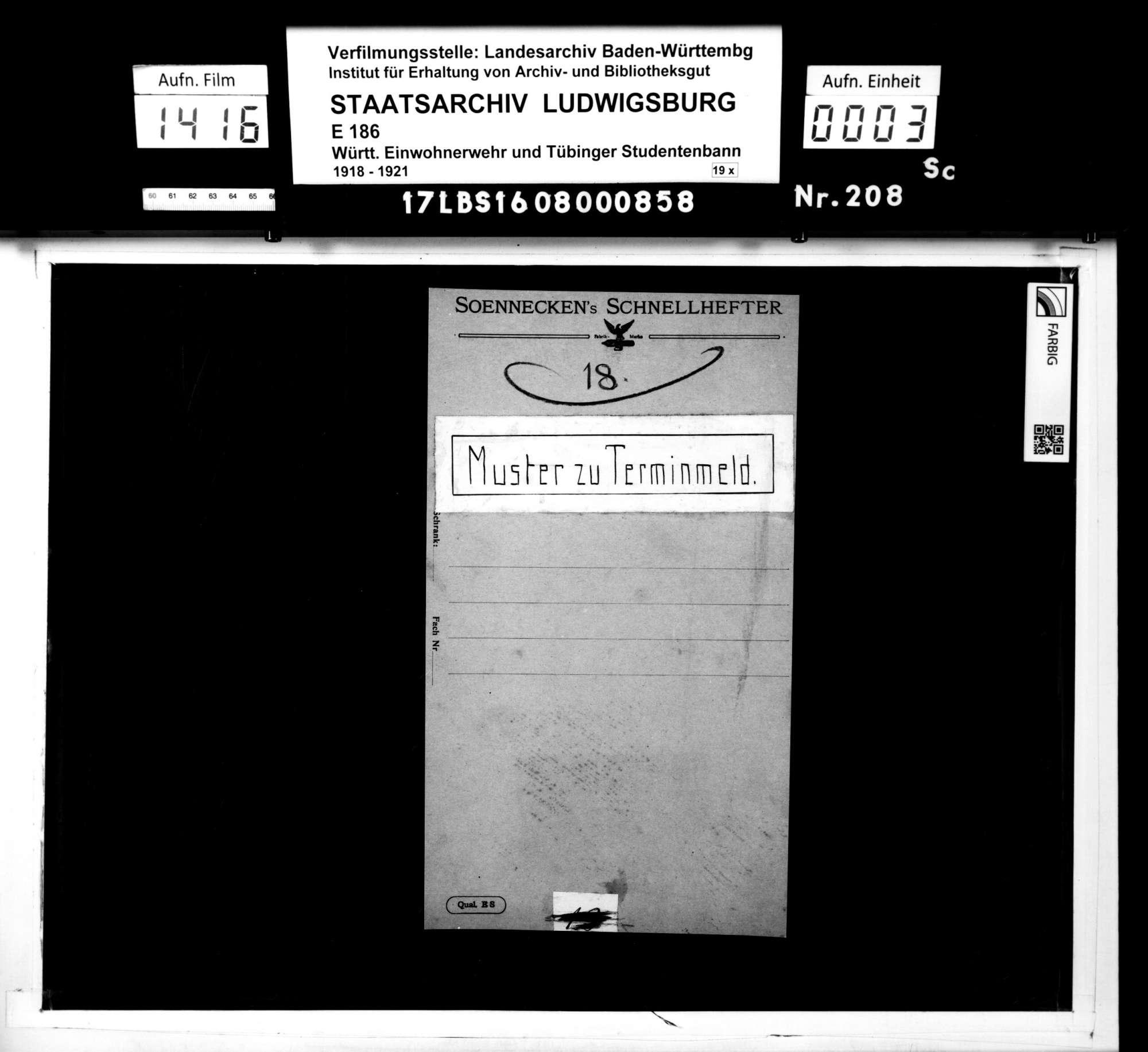Material- und Zahlungsnachweise, Formulare zu Terminmeldungen, Bild 1