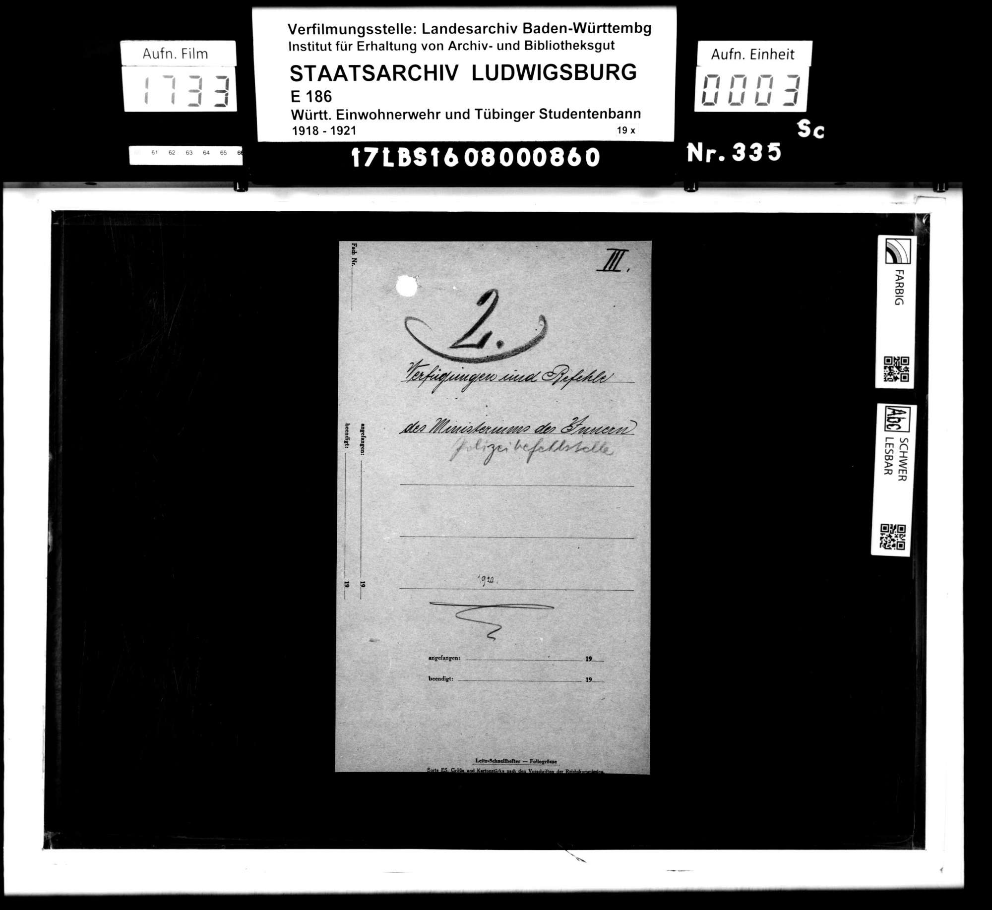 Verfügungen und Befehle des Ministeriums des Inneren/Polizeibefehlsstelle, Bild 1