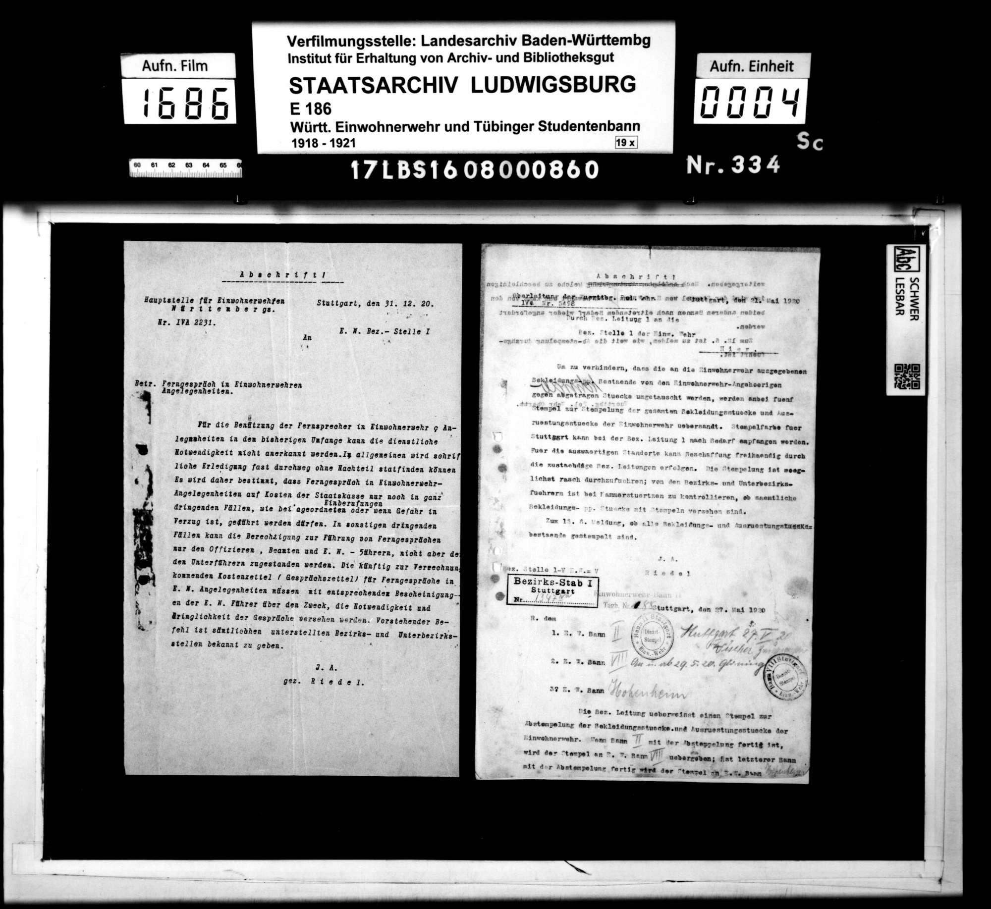 Verfügungen und Befehle der Hauptstelle für Einwohnerwehren Württembergs, Bild 2