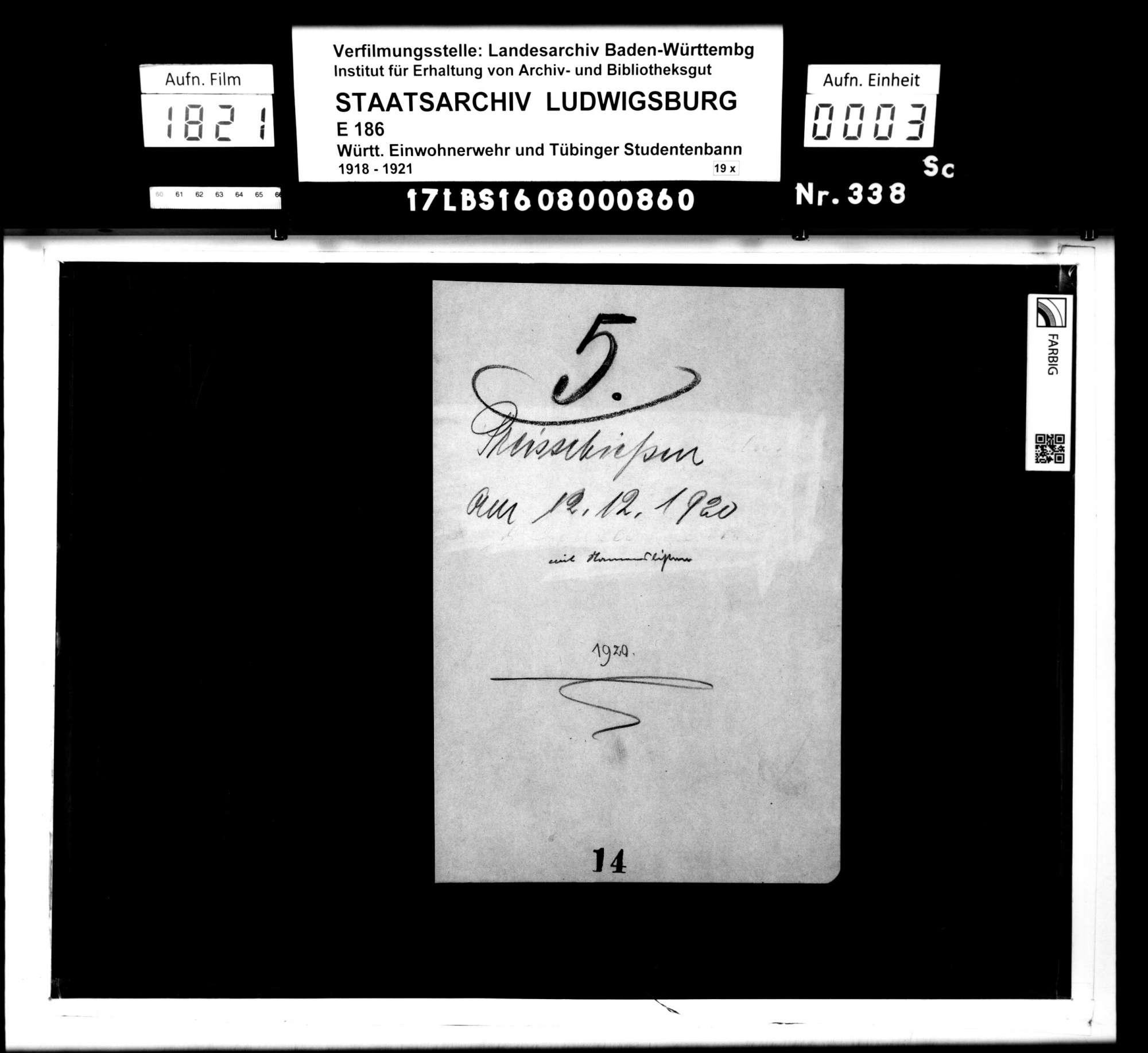 Preisschießen am 12.12.1920: Namenslisten, Bild 1