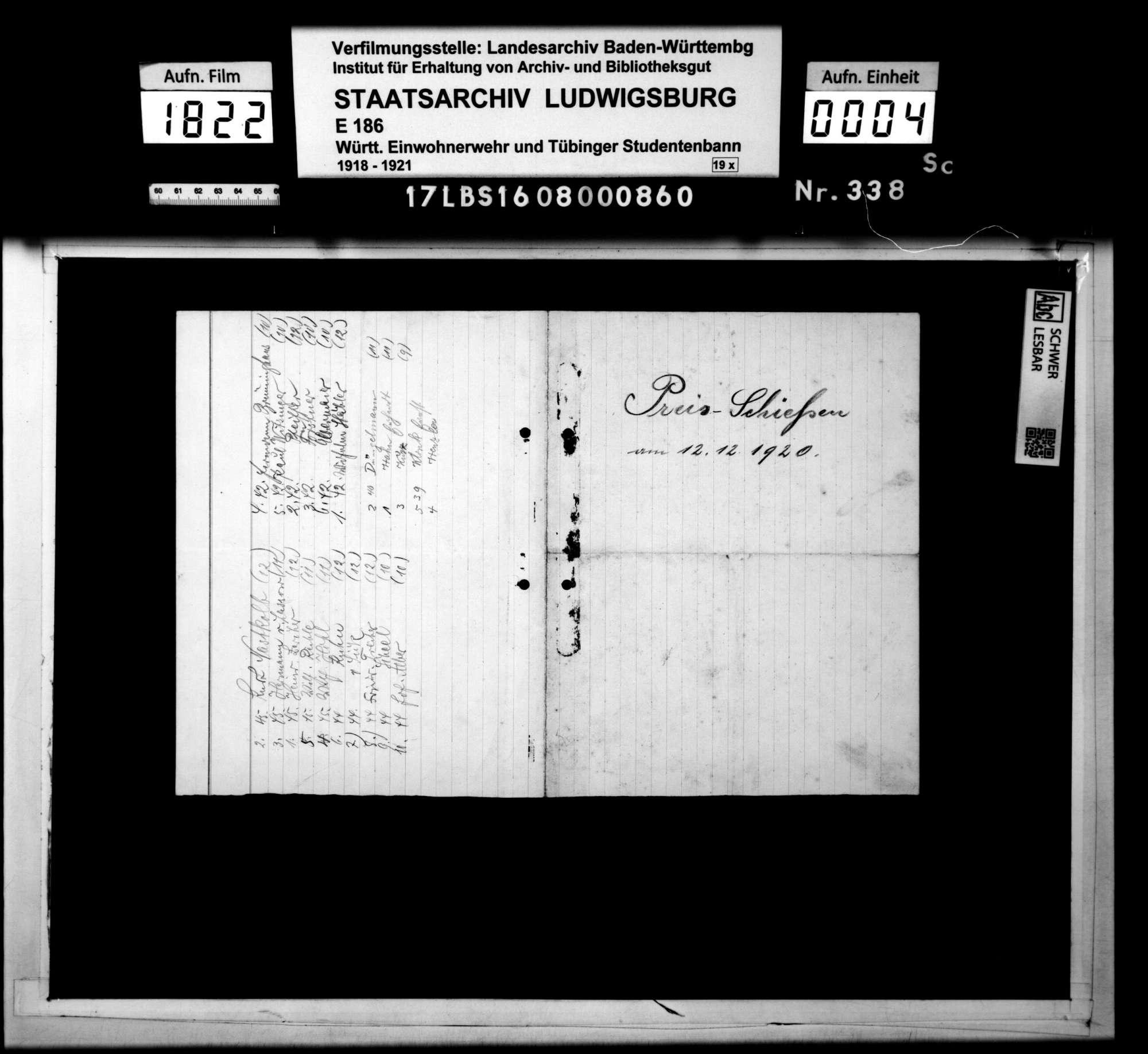 Preisschießen am 12.12.1920: Namenslisten, Bild 2