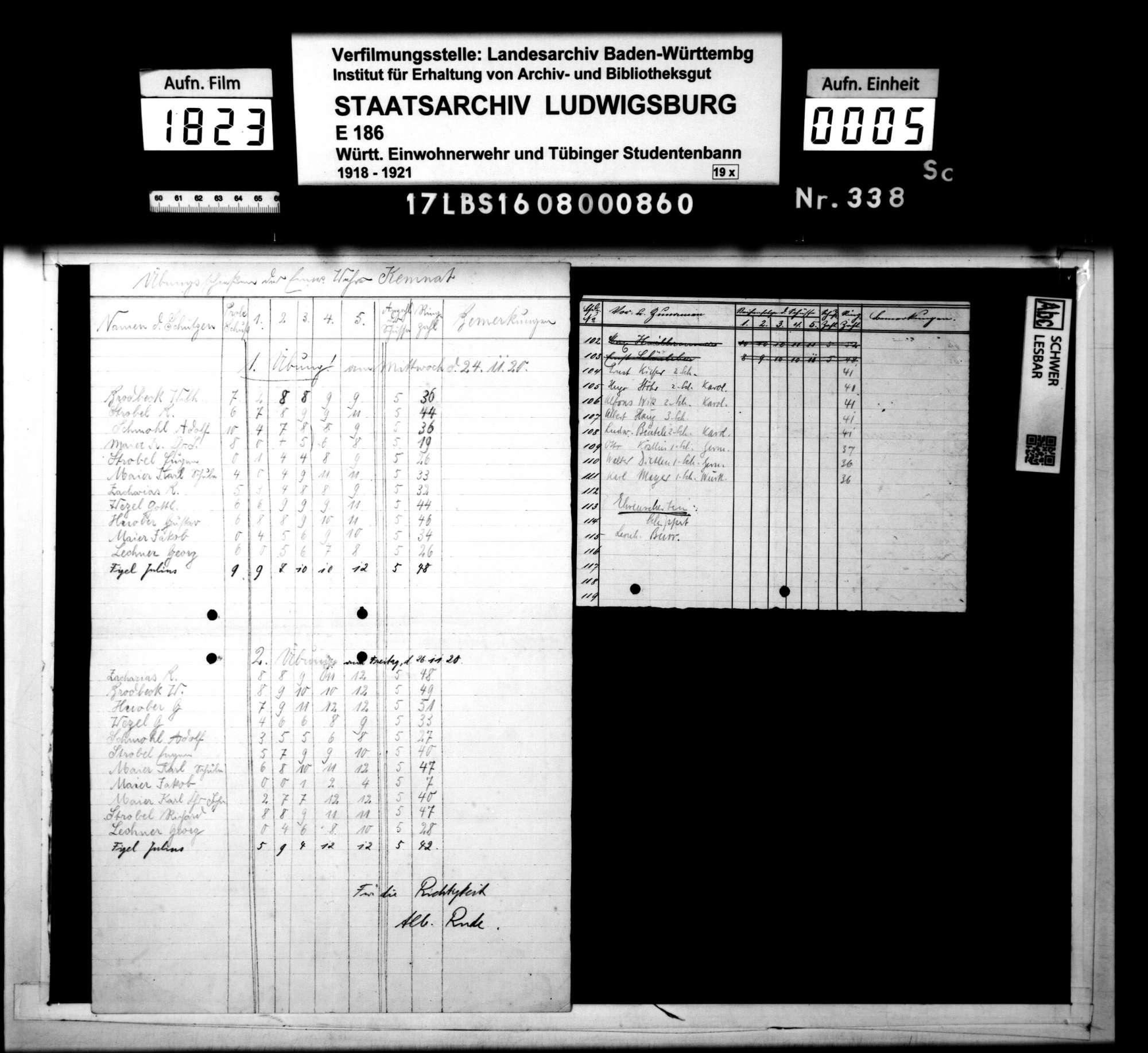 Preisschießen am 12.12.1920: Namenslisten, Bild 3
