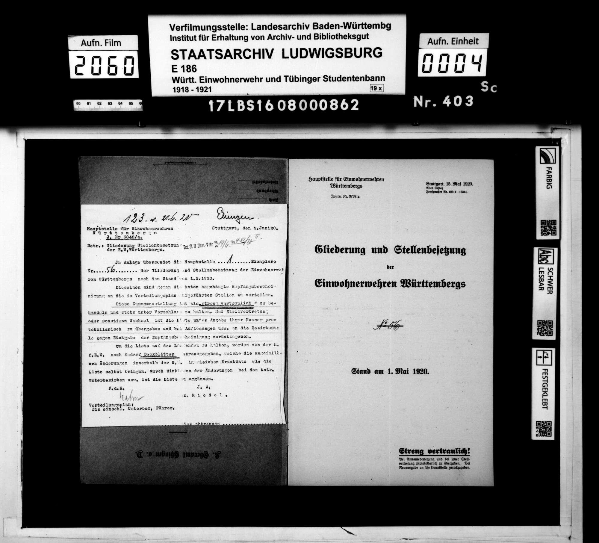 Gliederung und Stellenbesetzung der Einwoherwehren Württembergs, Stand 1. Mai 1920, Bild 2