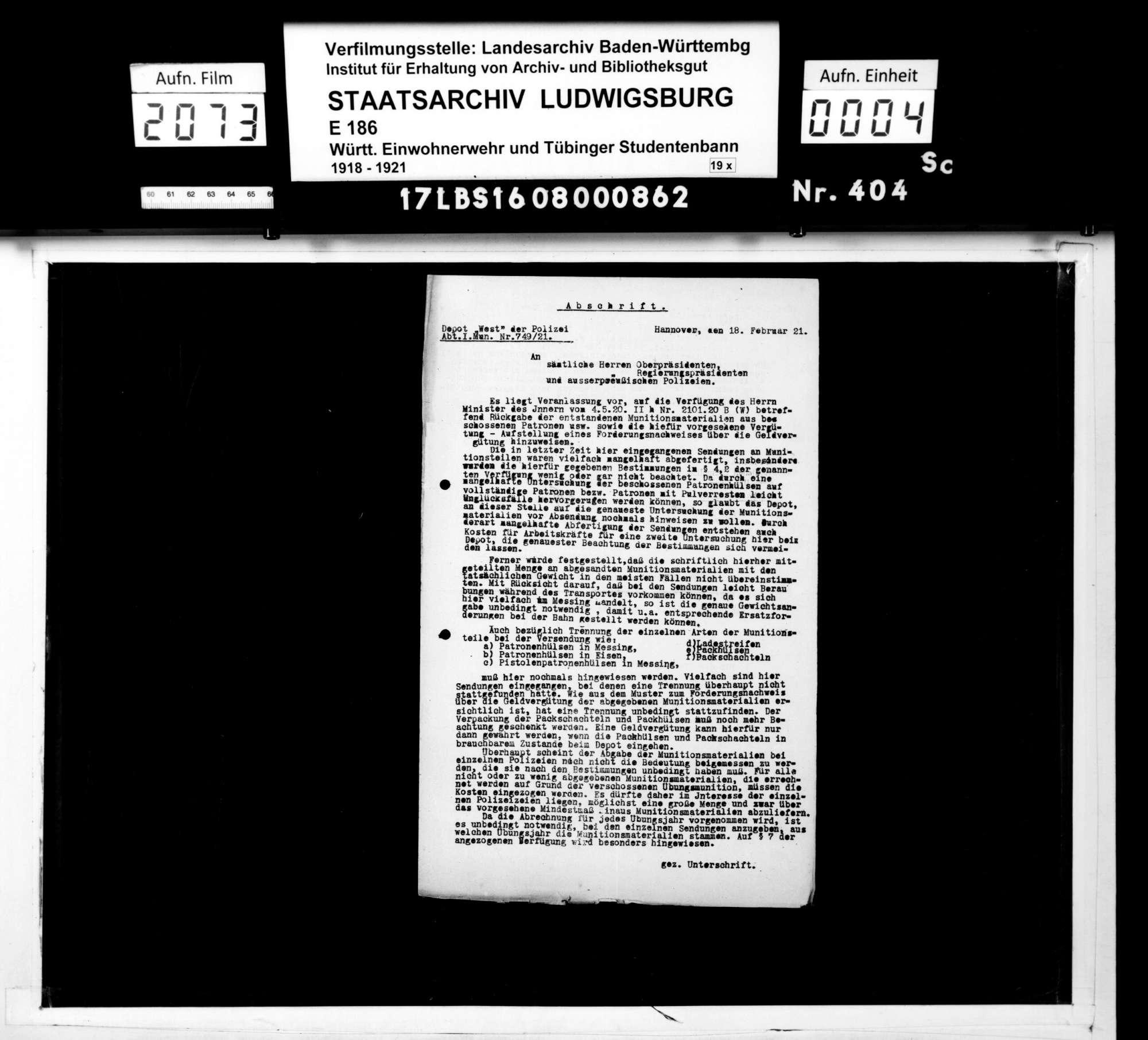 Verfügungen der Bezirksstelle 2 Ulm und anderer Dienststellen, Bild 2
