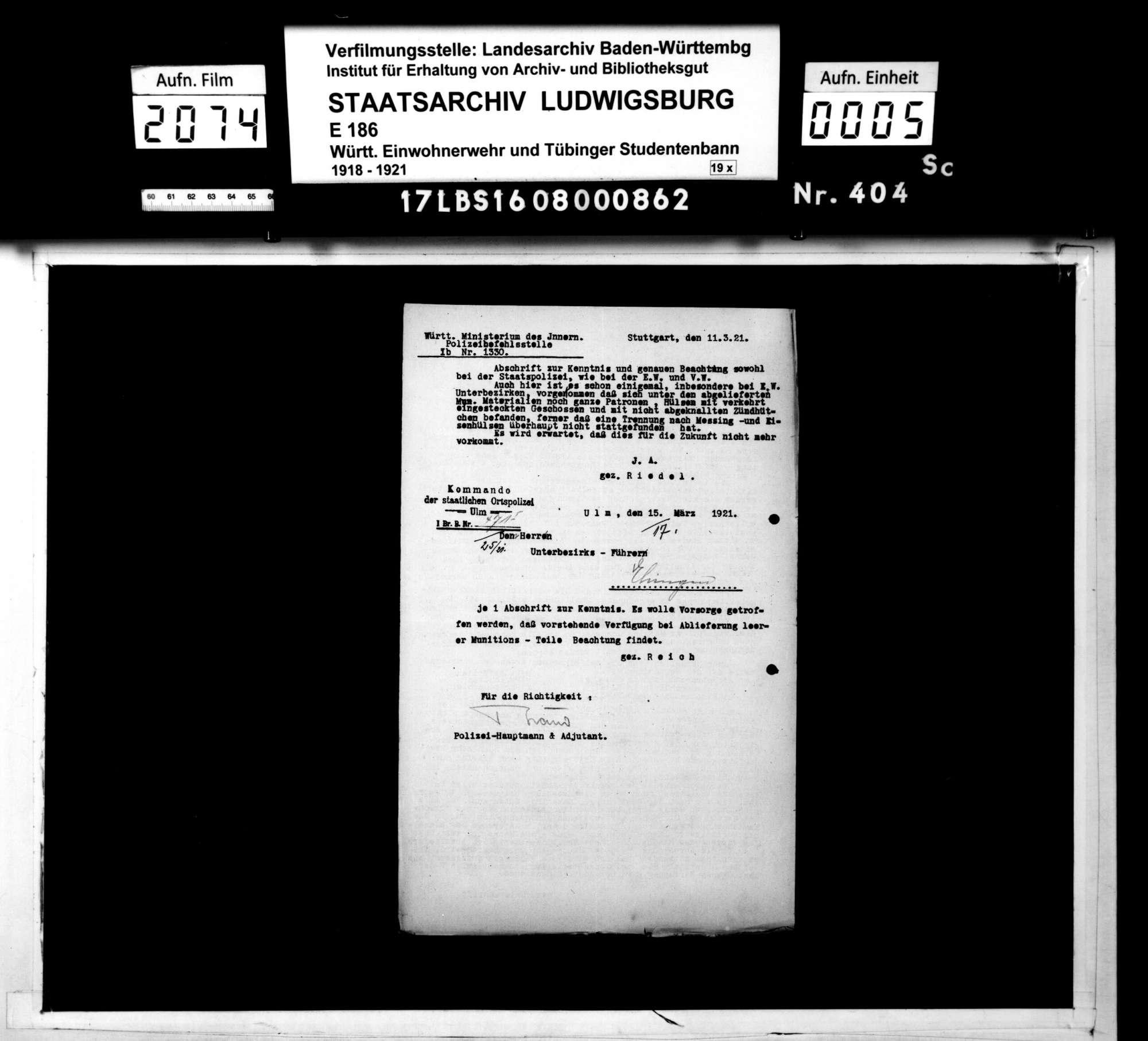 Verfügungen der Bezirksstelle 2 Ulm und anderer Dienststellen, Bild 3