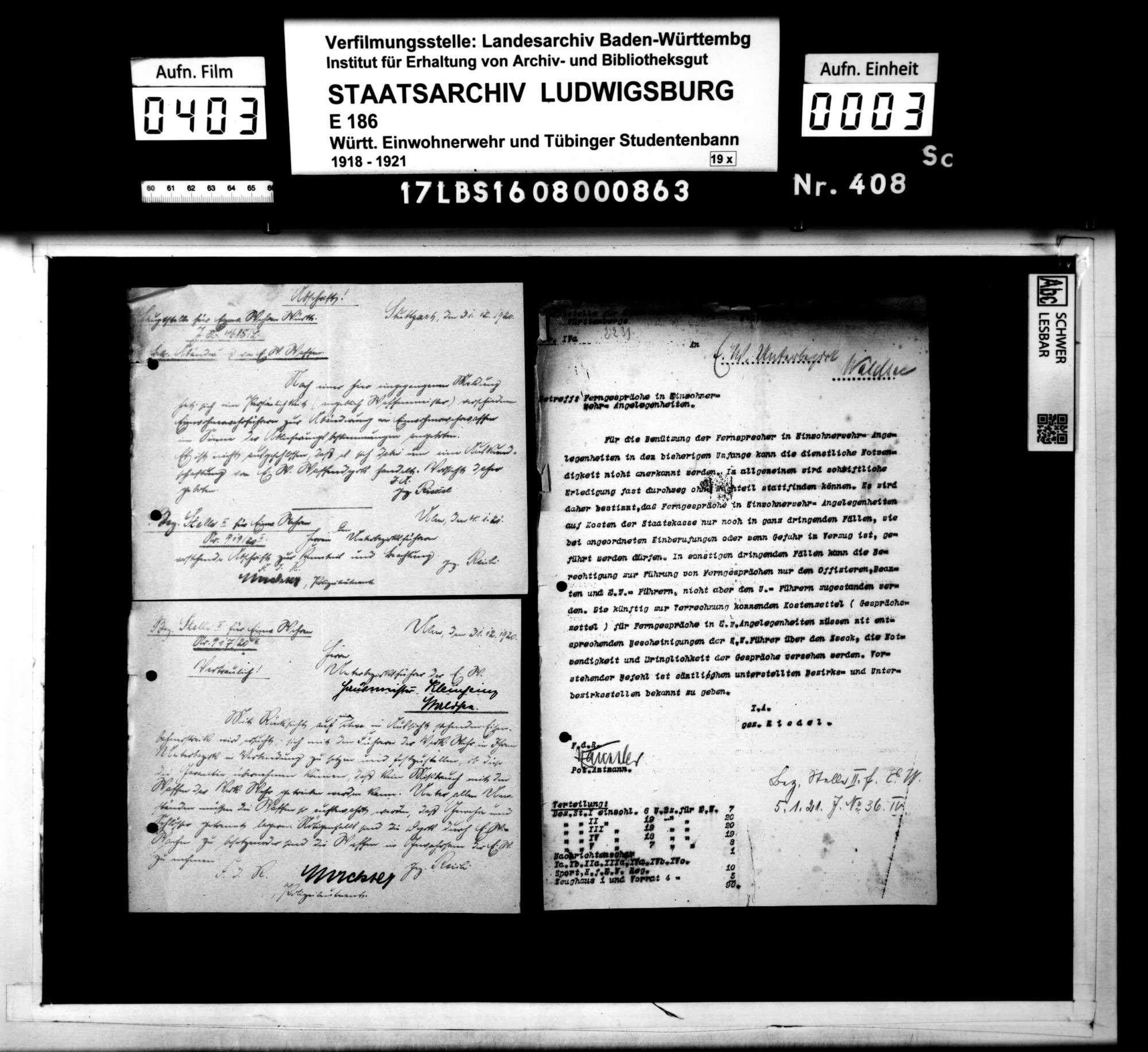 Verfügungen der Hauptstelle für Einwohnerwehren Württembergs, der Bezirksstelle 2 Ulm und anderer Dienststellen, Bild 1